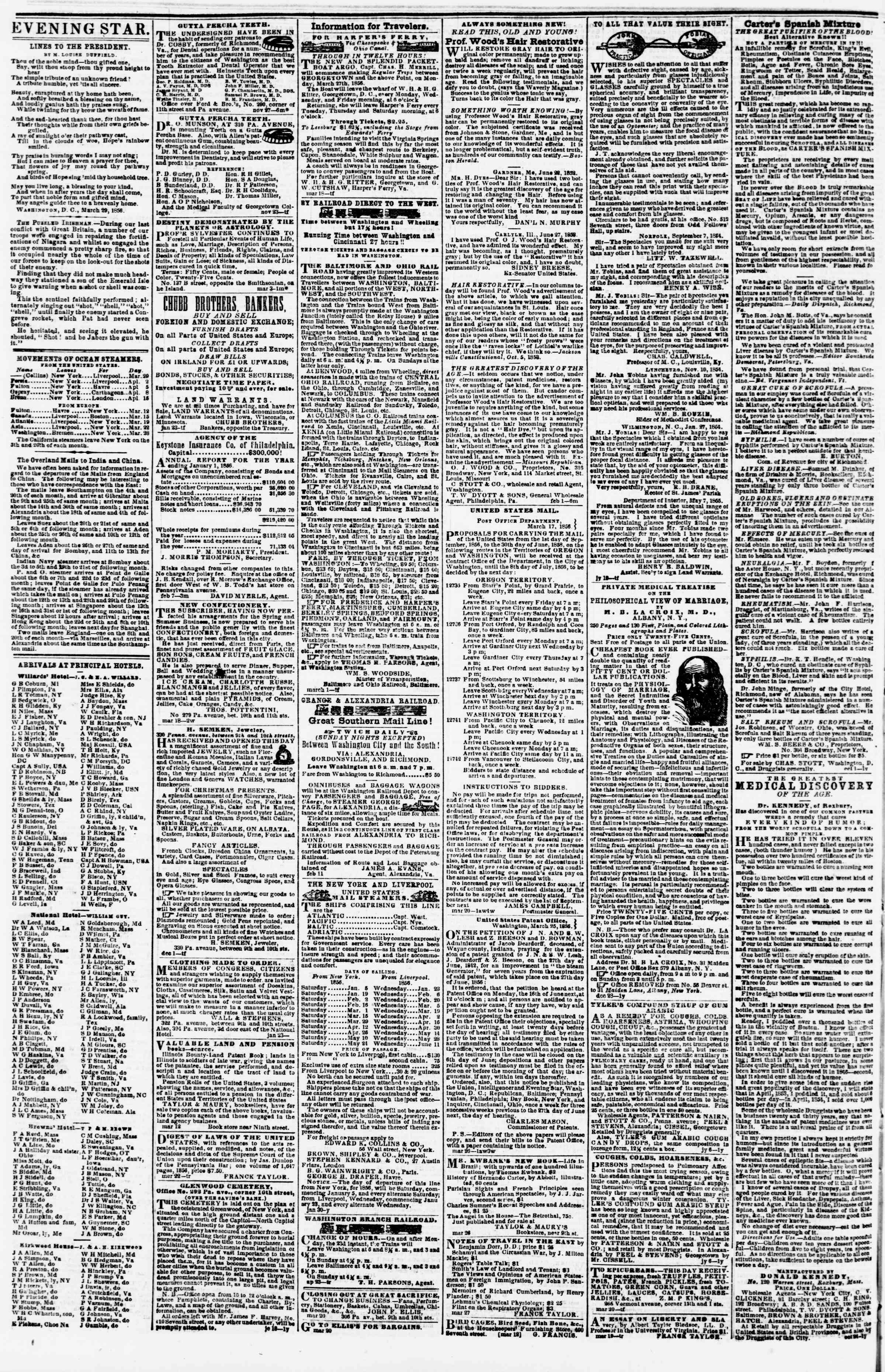 Newspaper of Evening Star dated March 31, 1856 Page 4
