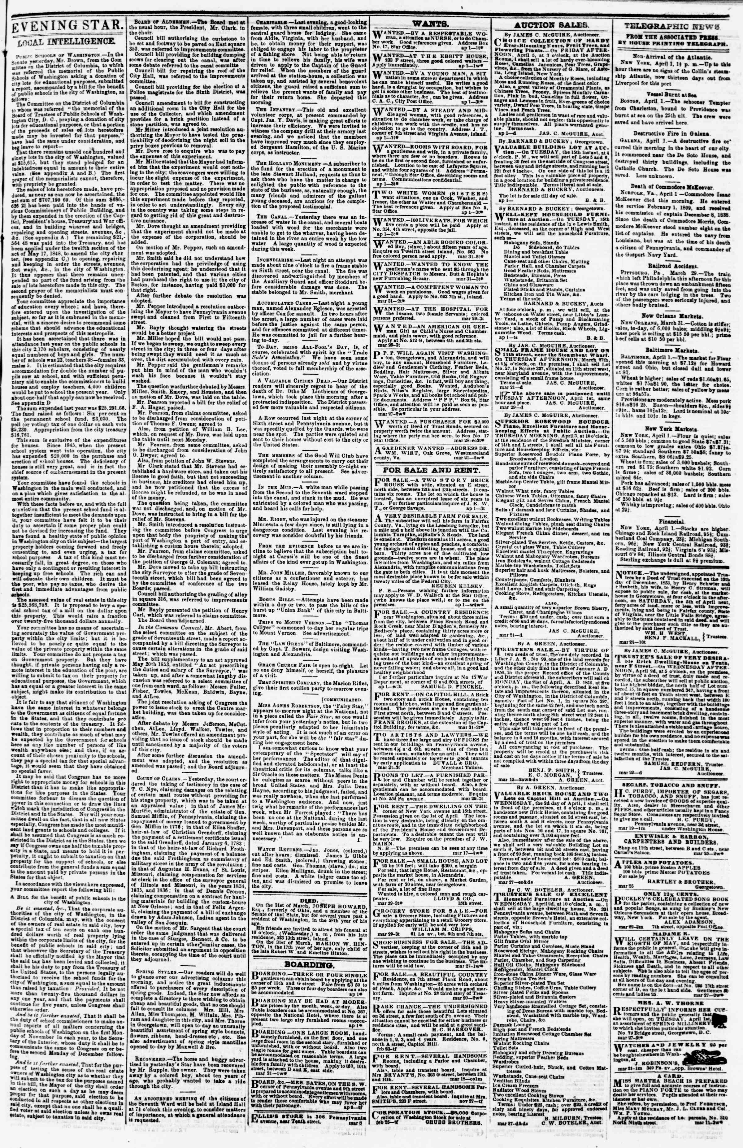 Newspaper of Evening Star dated April 1, 1856 Page 3