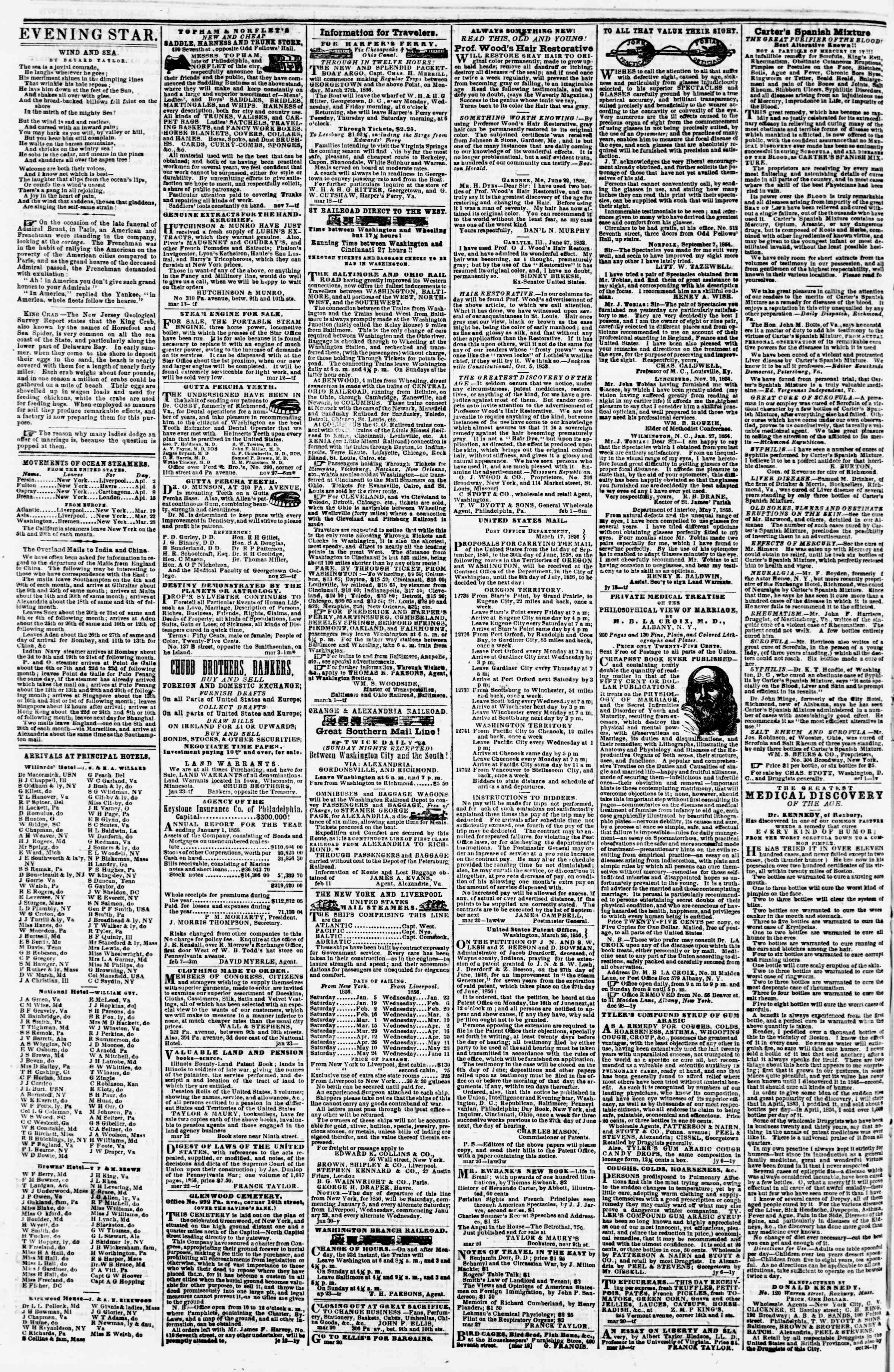 Newspaper of Evening Star dated April 2, 1856 Page 4