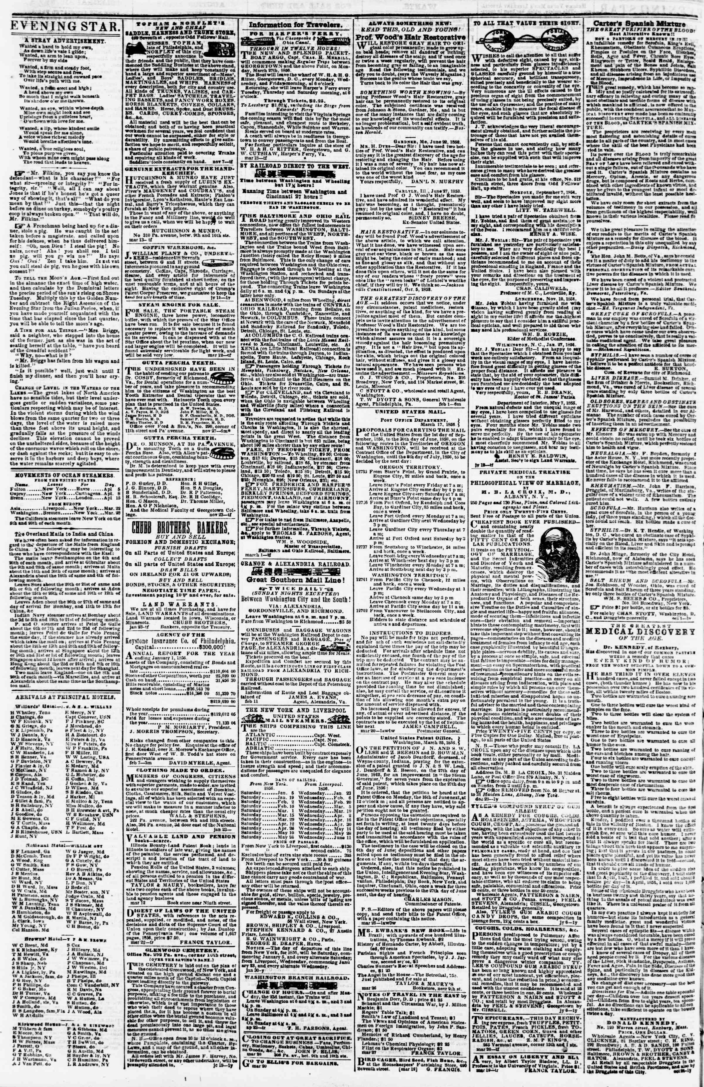 Newspaper of Evening Star dated April 3, 1856 Page 4