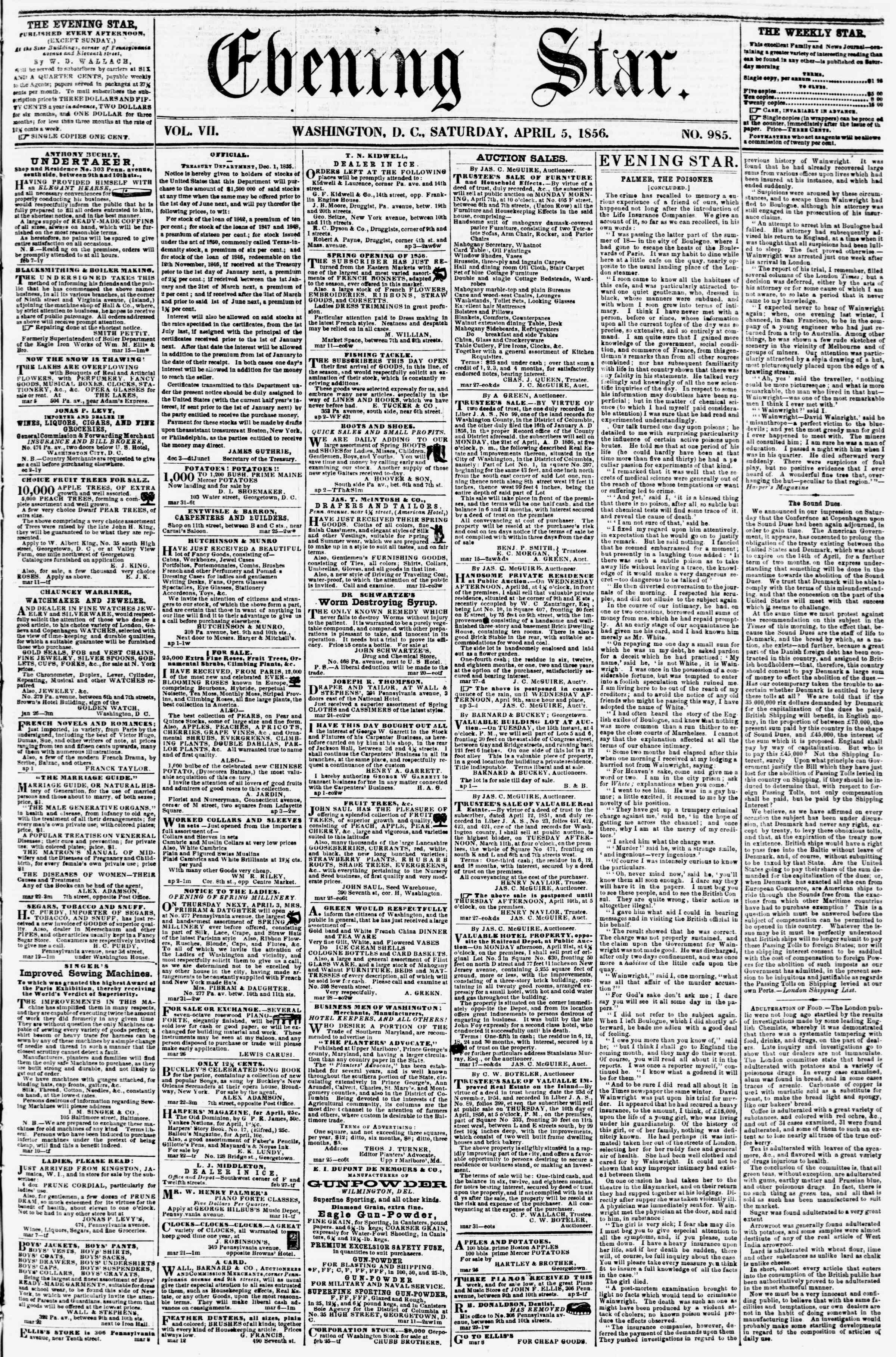 Newspaper of Evening Star dated April 5, 1856 Page 1