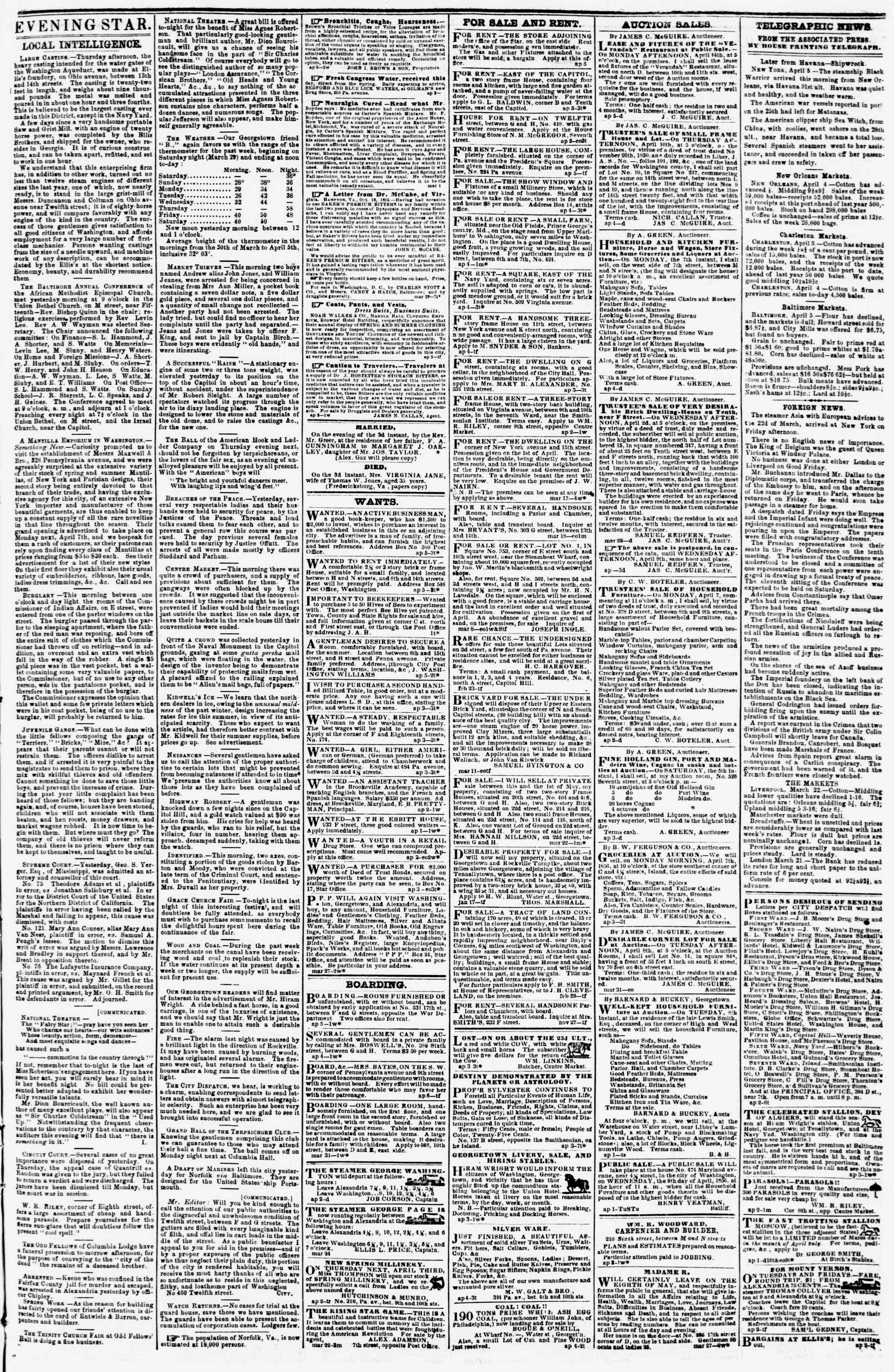 Newspaper of Evening Star dated April 5, 1856 Page 3