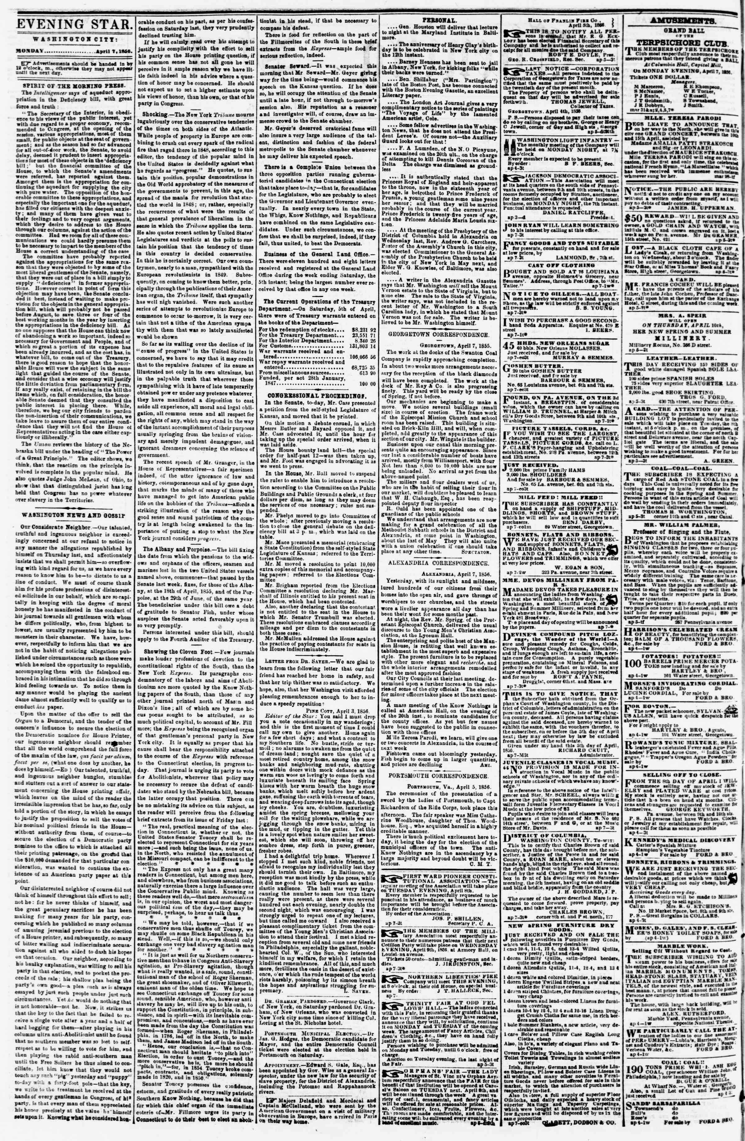 Newspaper of Evening Star dated April 7, 1856 Page 2