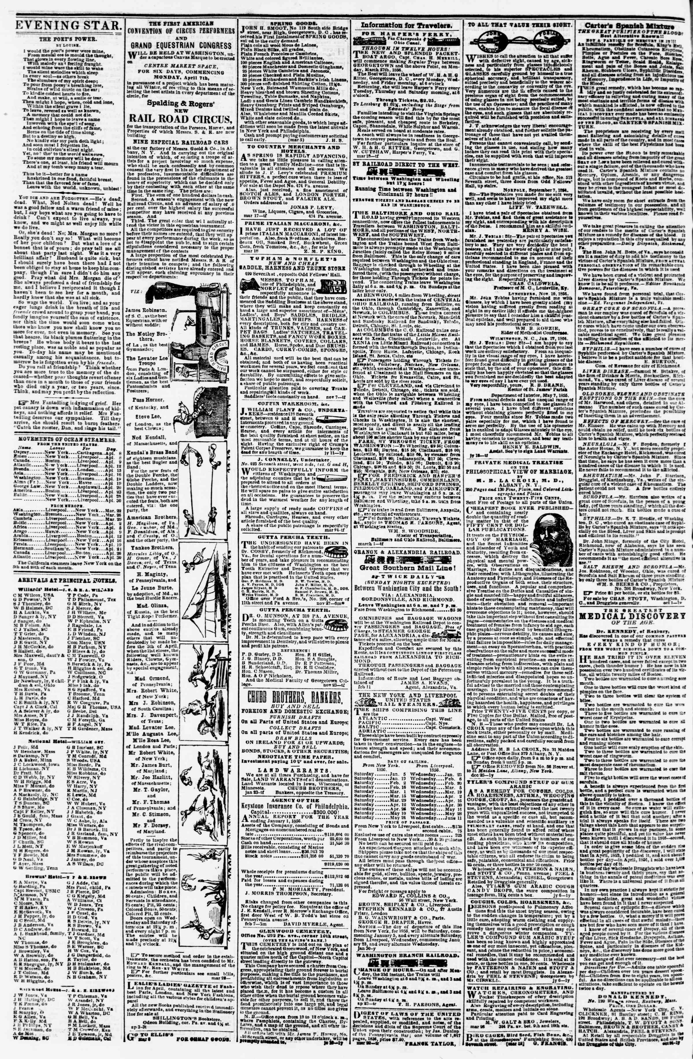 Newspaper of Evening Star dated April 7, 1856 Page 4