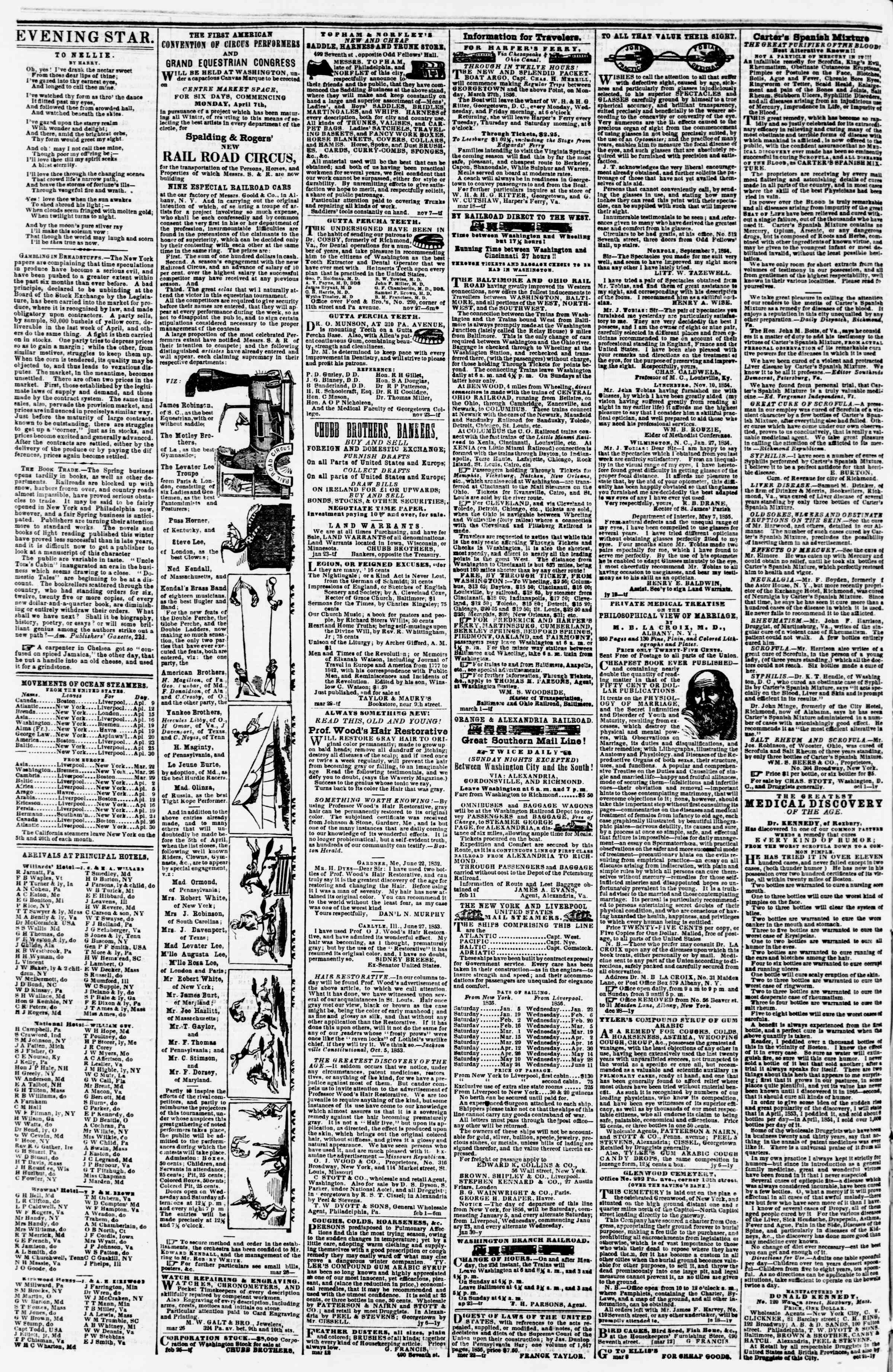 Newspaper of Evening Star dated April 8, 1856 Page 4