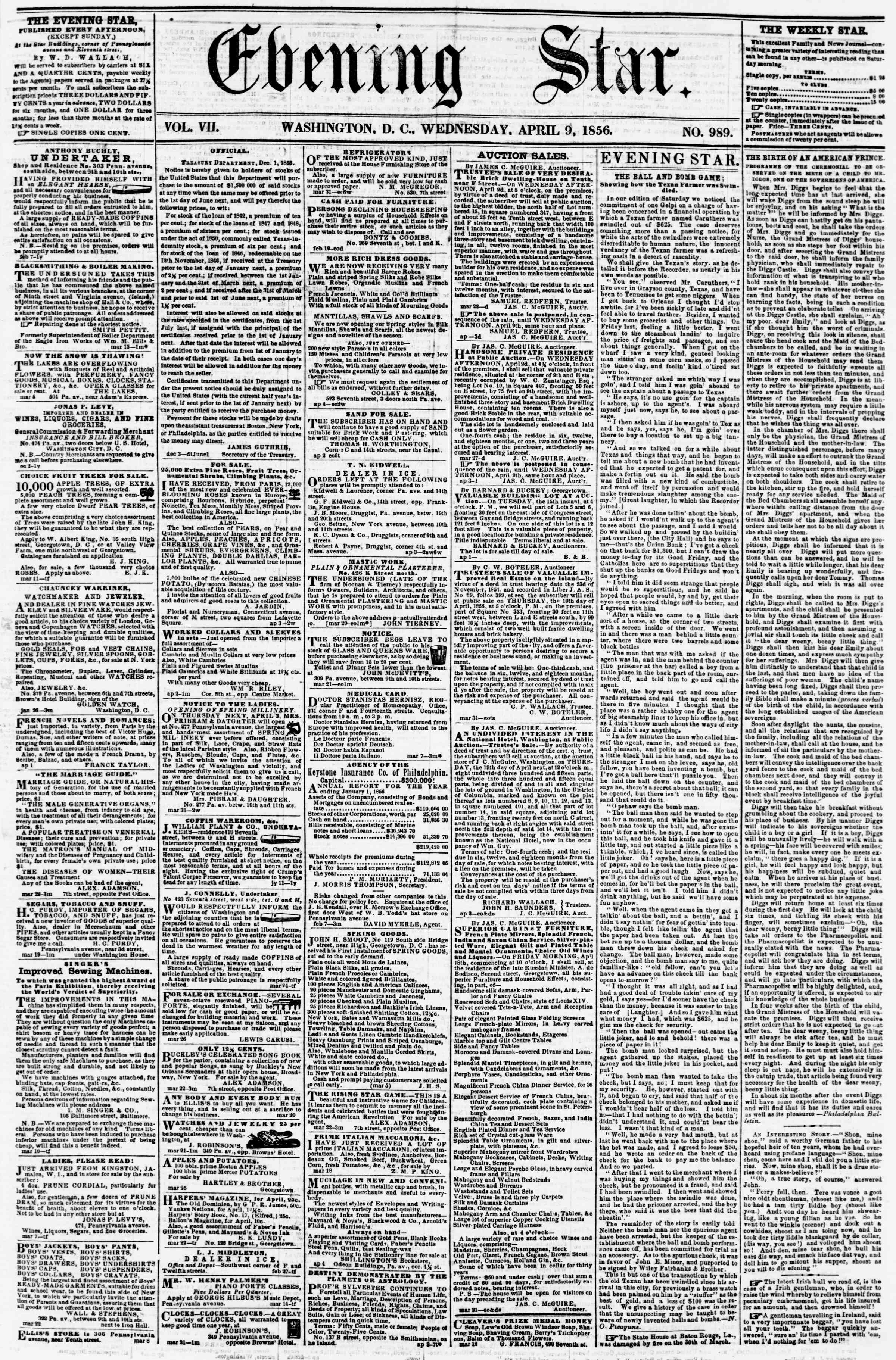 Newspaper of Evening Star dated April 9, 1856 Page 1