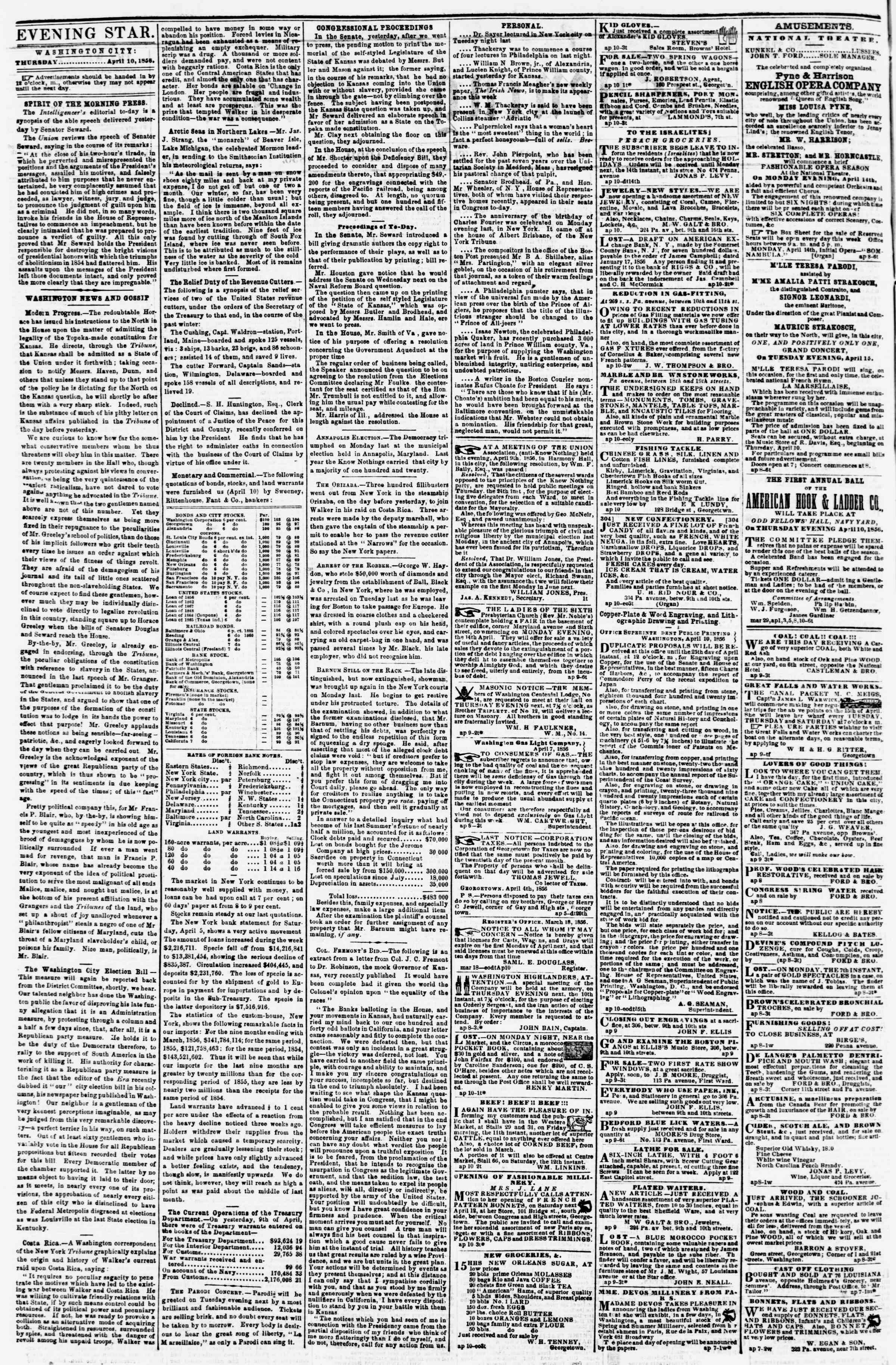 Newspaper of Evening Star dated April 10, 1856 Page 2