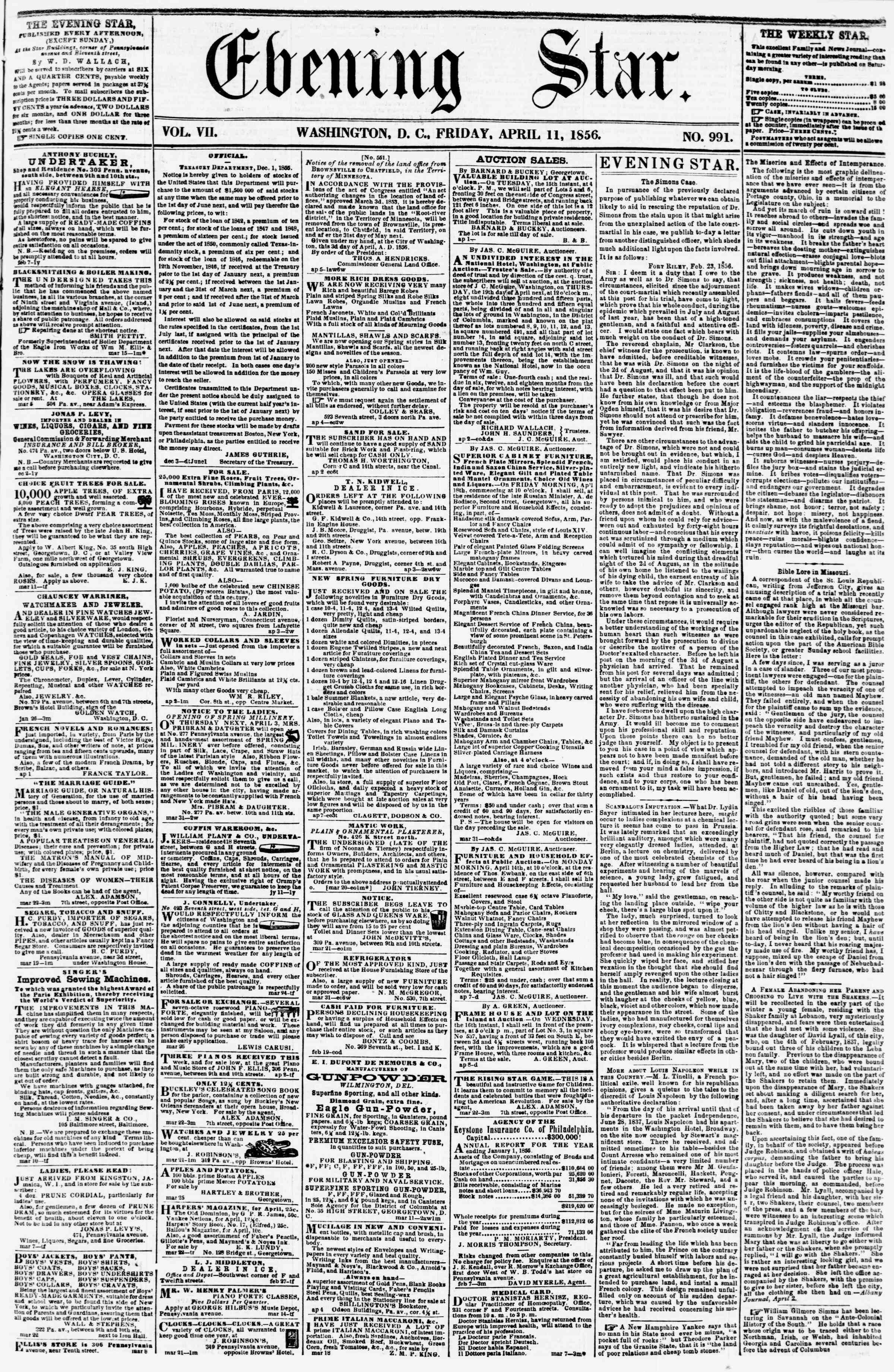 Newspaper of Evening Star dated April 11, 1856 Page 1
