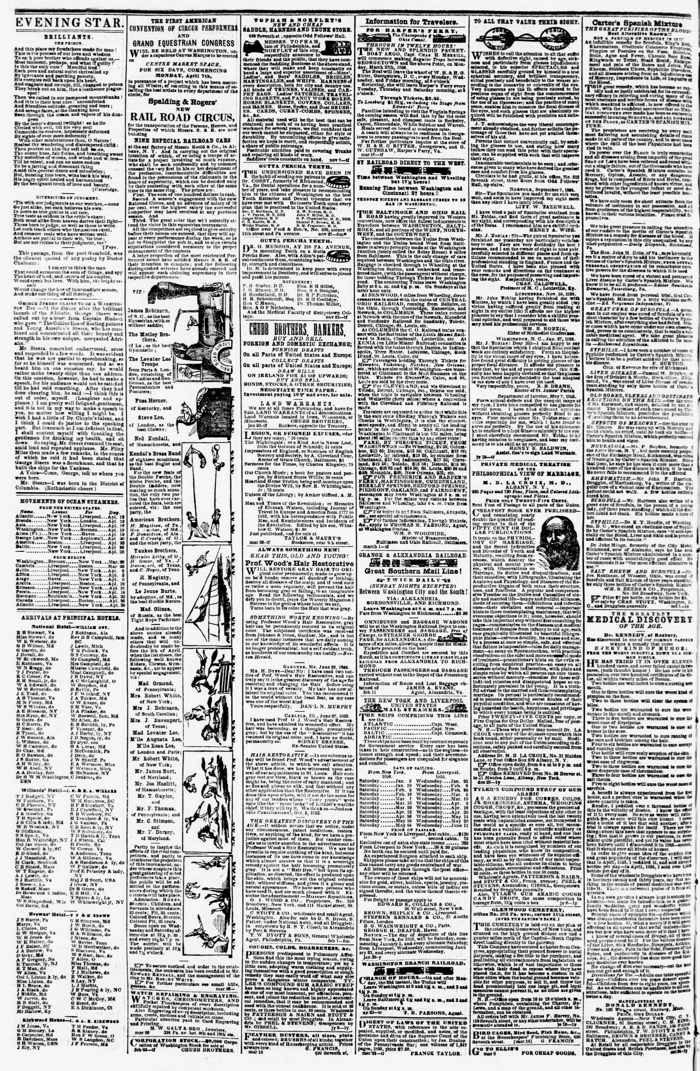 Newspaper of Evening Star dated April 11, 1856 Page 4