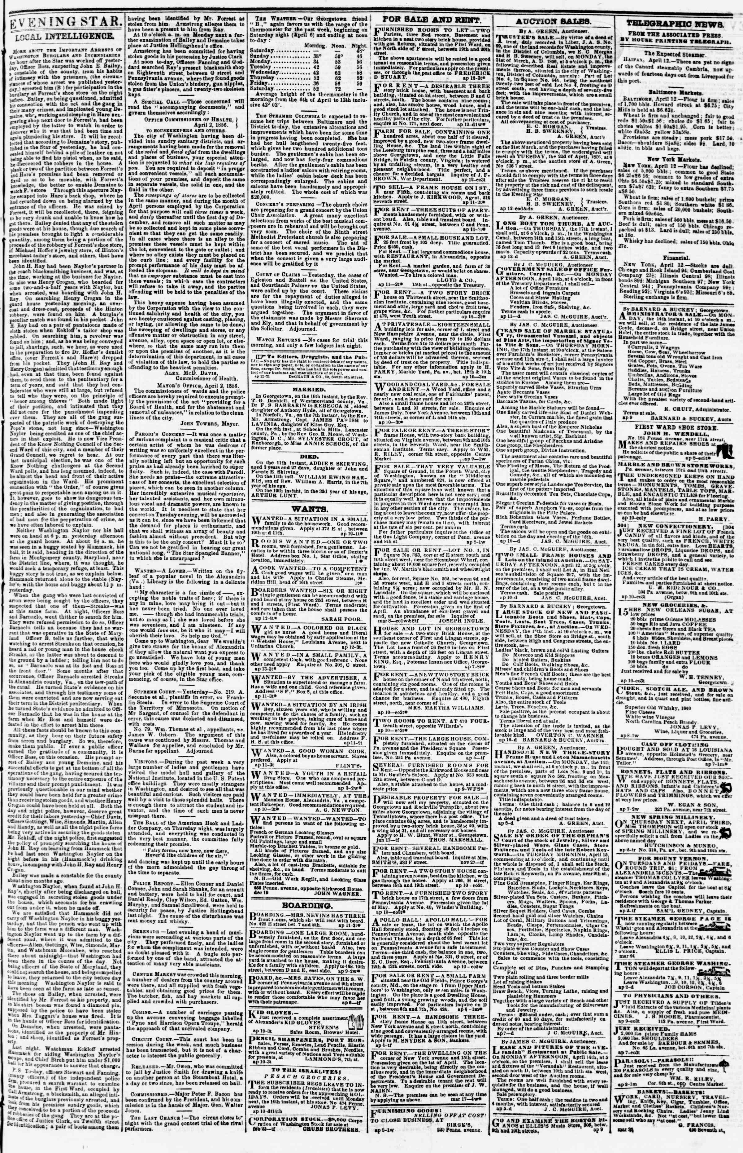 Newspaper of Evening Star dated April 12, 1856 Page 3