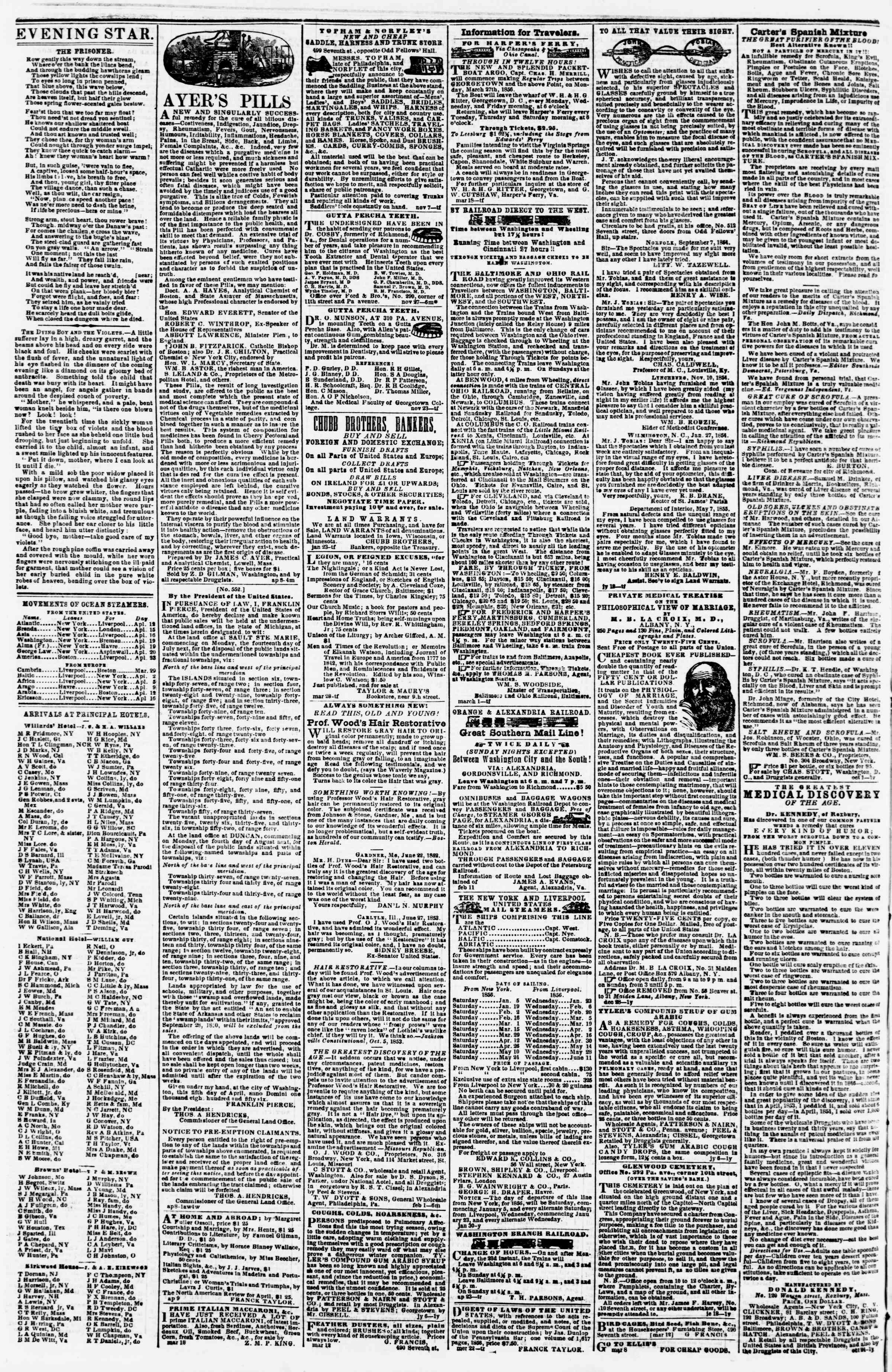 Newspaper of Evening Star dated April 14, 1856 Page 4