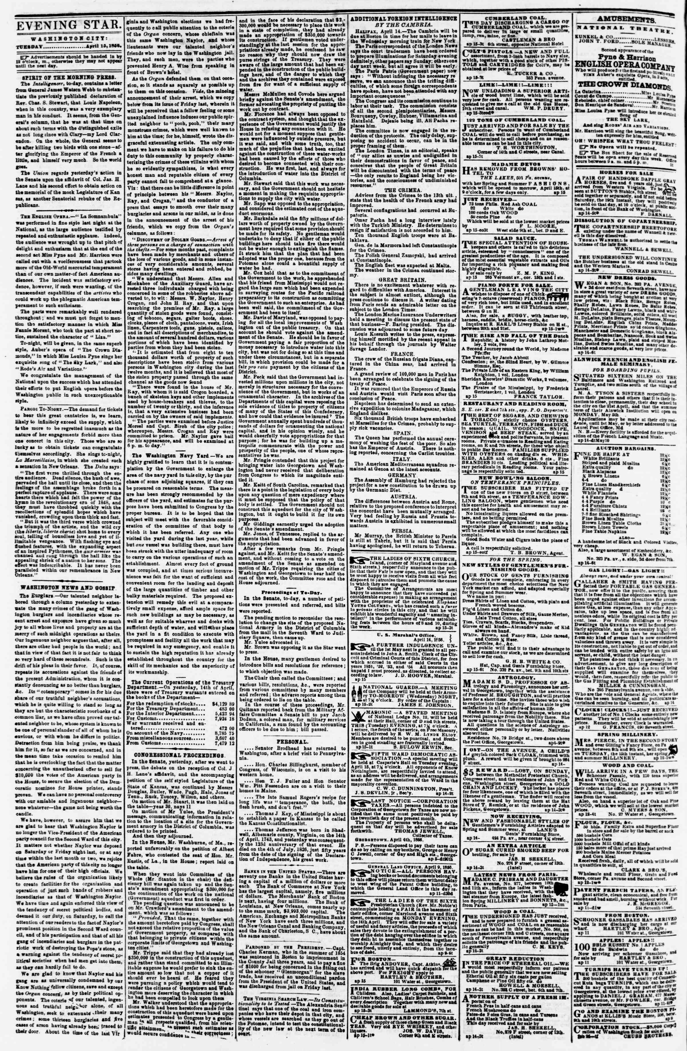 Newspaper of Evening Star dated April 15, 1856 Page 2