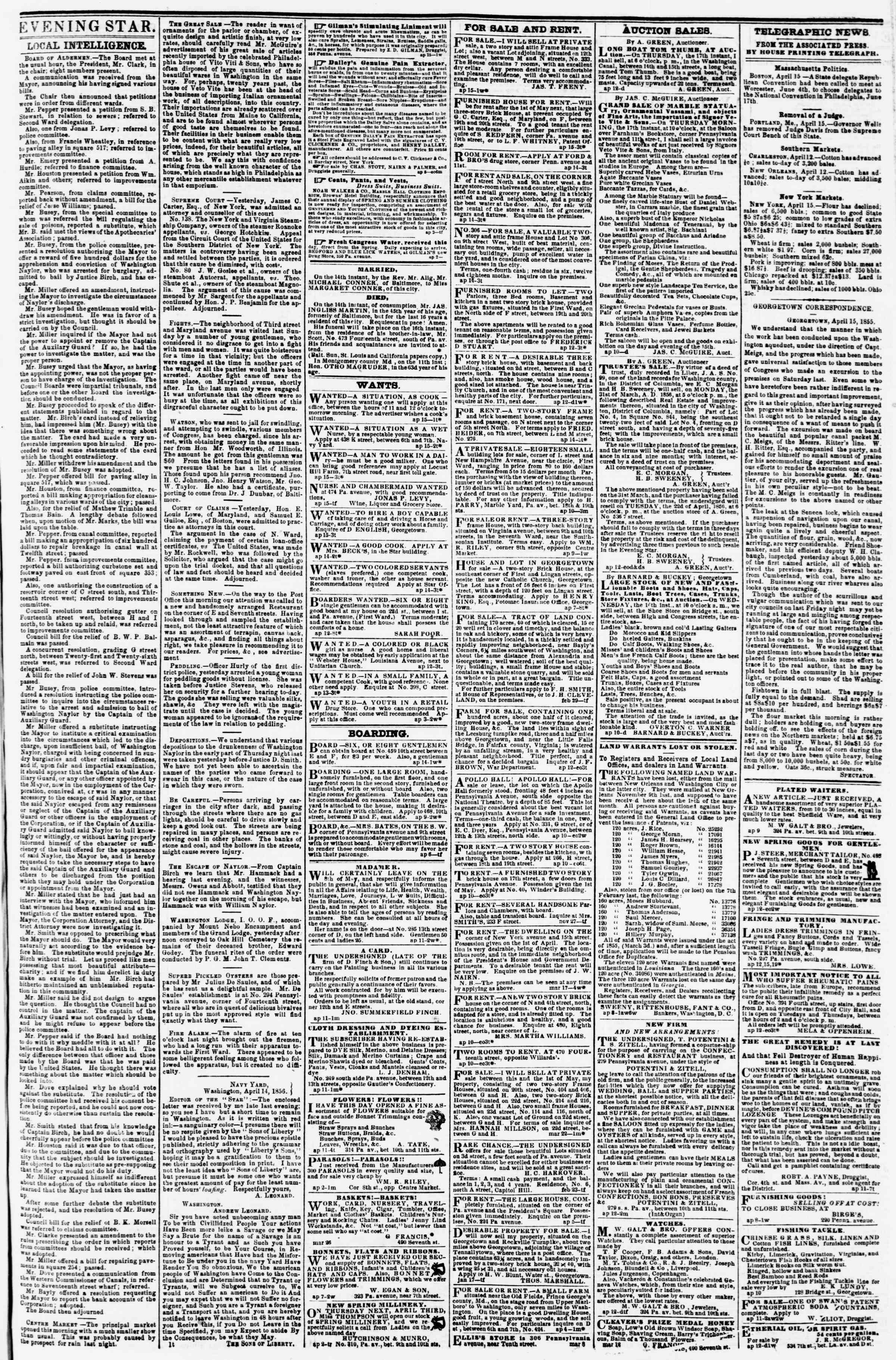 Newspaper of Evening Star dated April 15, 1856 Page 3