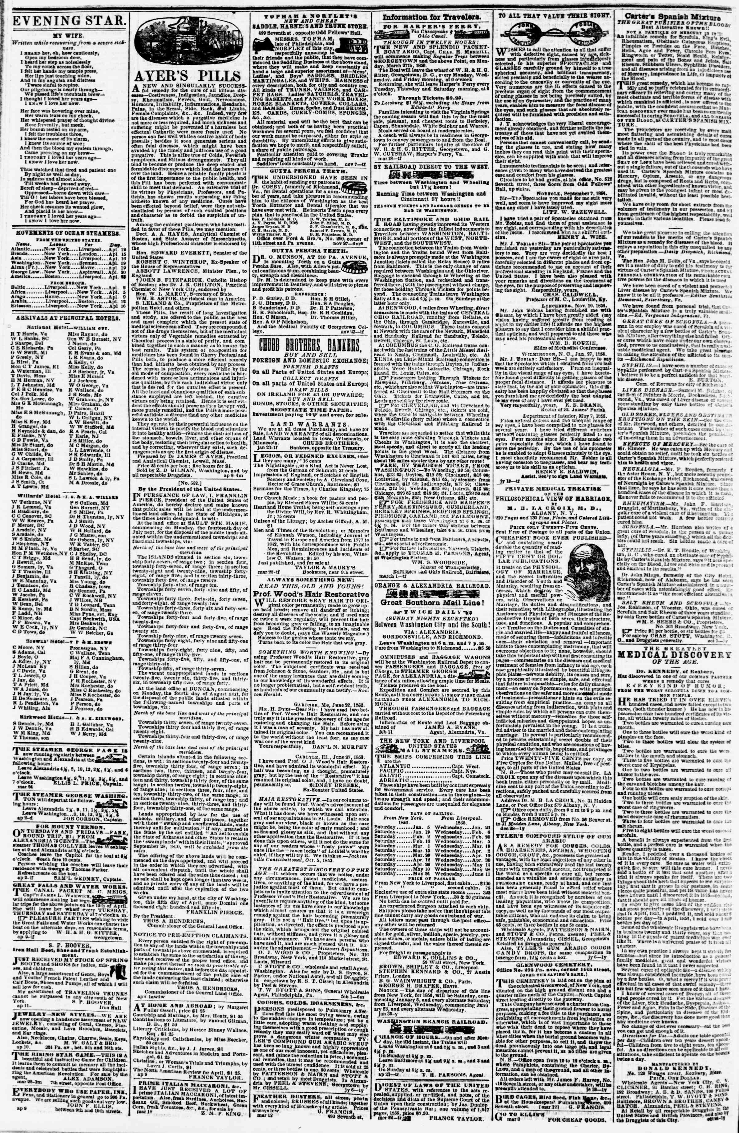 Newspaper of Evening Star dated April 15, 1856 Page 4