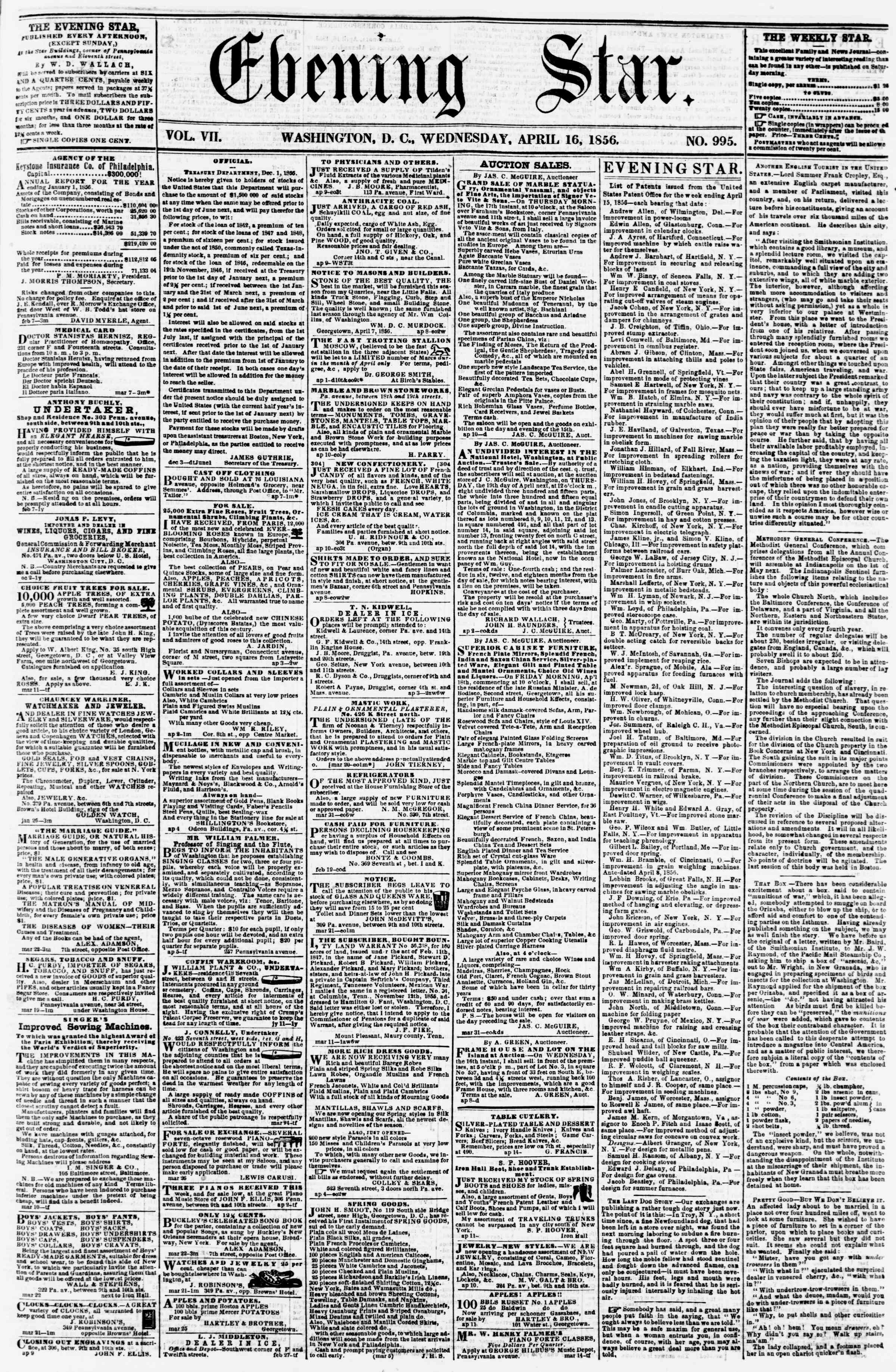 Newspaper of Evening Star dated April 16, 1856 Page 1