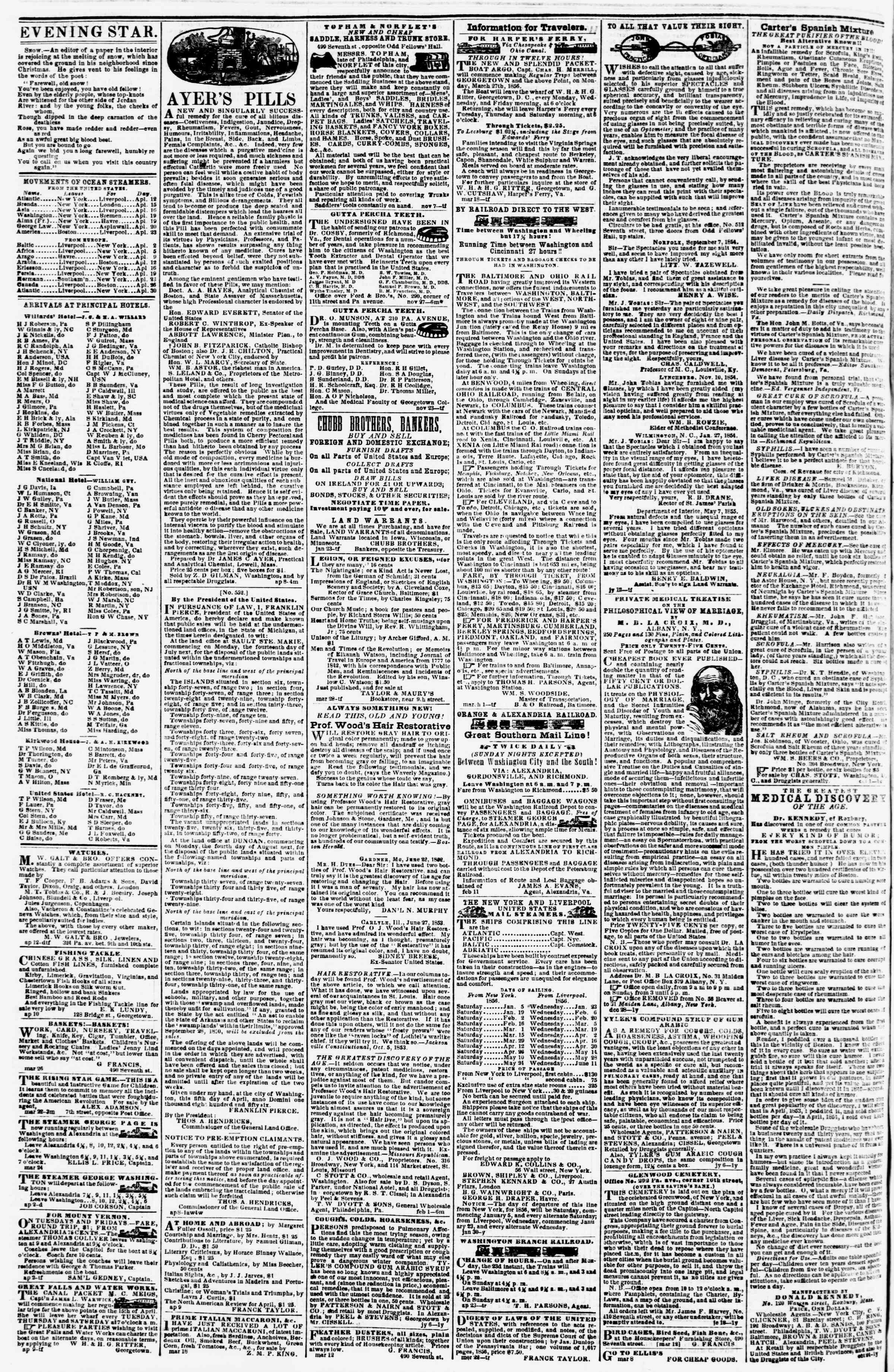 Newspaper of Evening Star dated April 16, 1856 Page 4