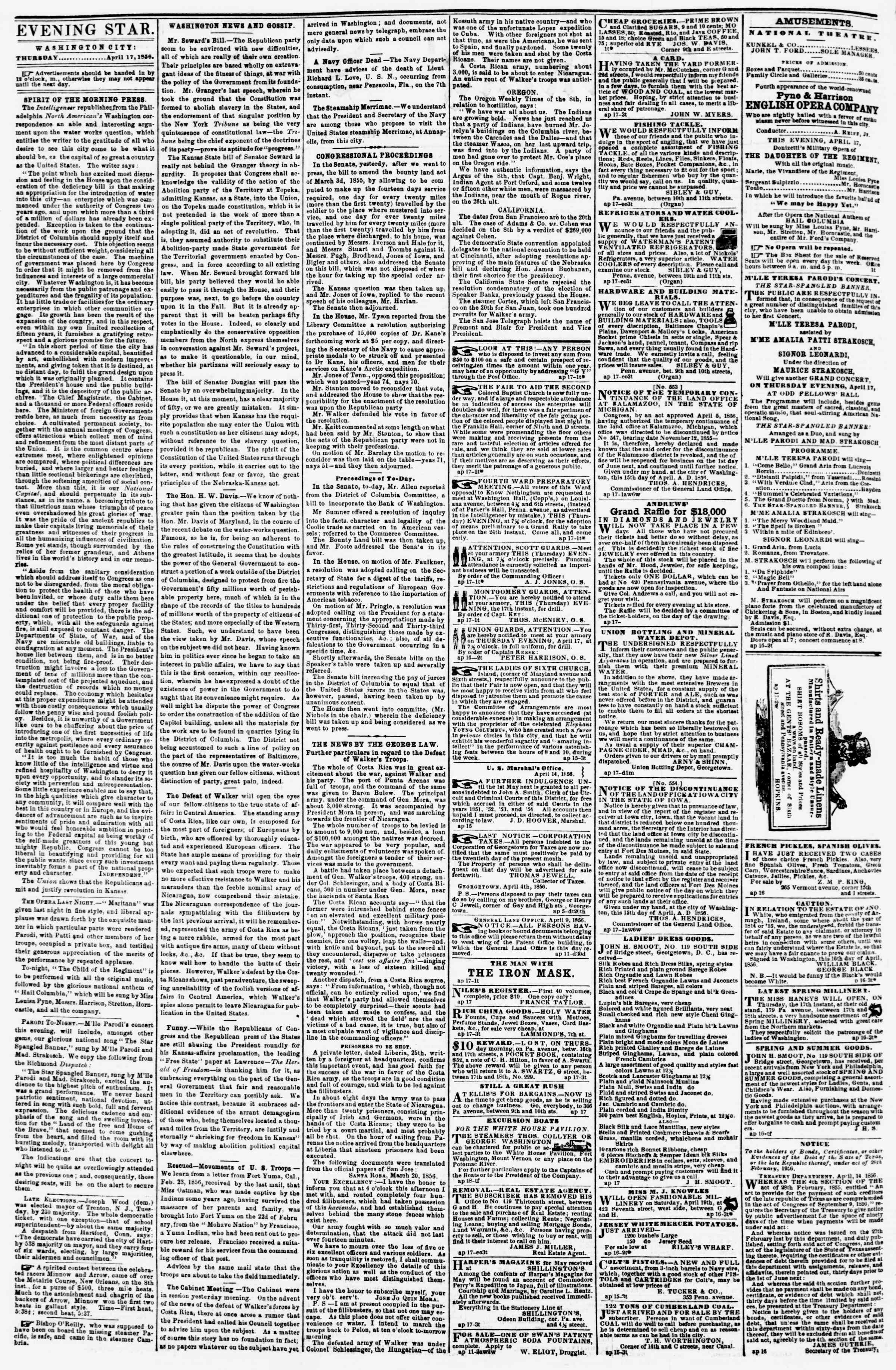 Newspaper of Evening Star dated April 17, 1856 Page 2