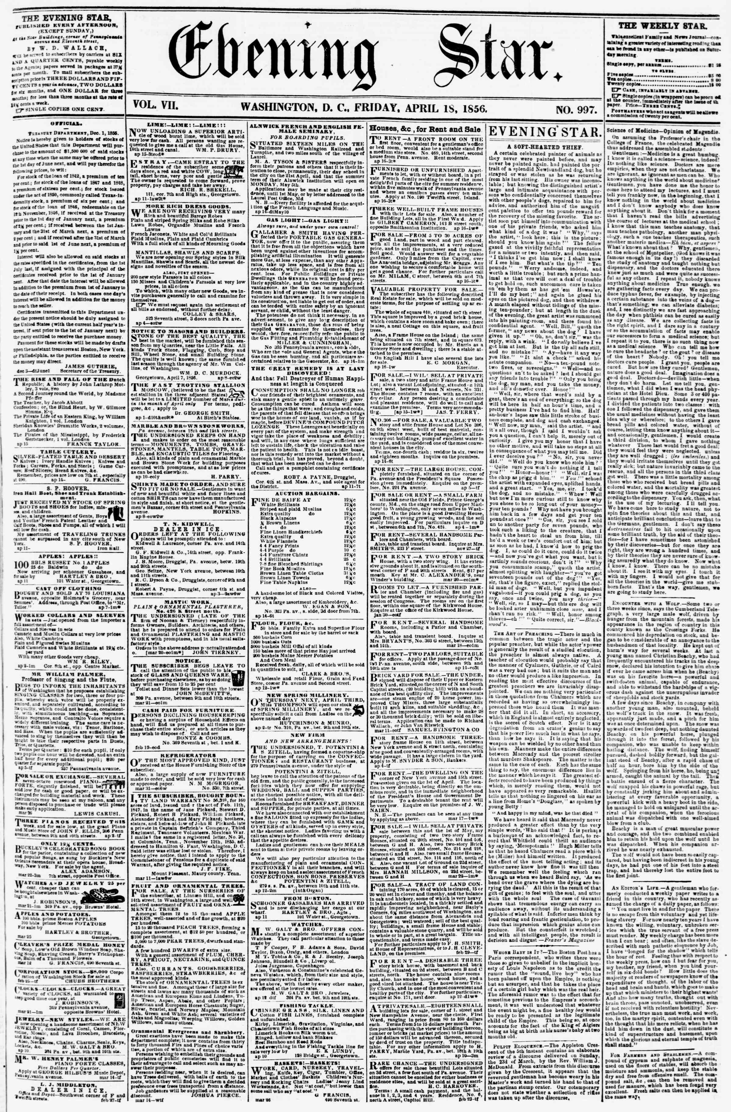 Newspaper of Evening Star dated April 18, 1856 Page 1