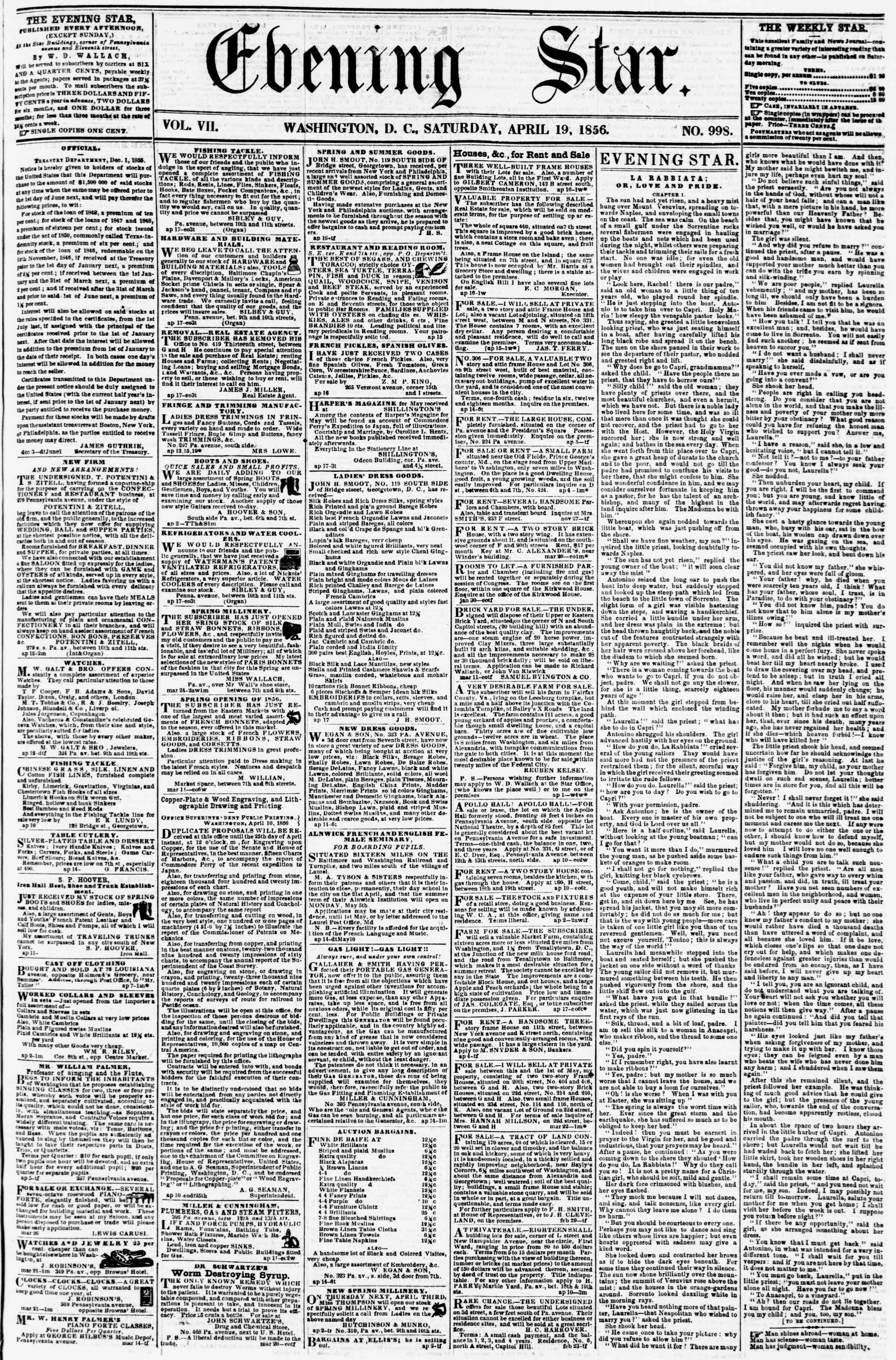 Newspaper of Evening Star dated April 19, 1856 Page 1