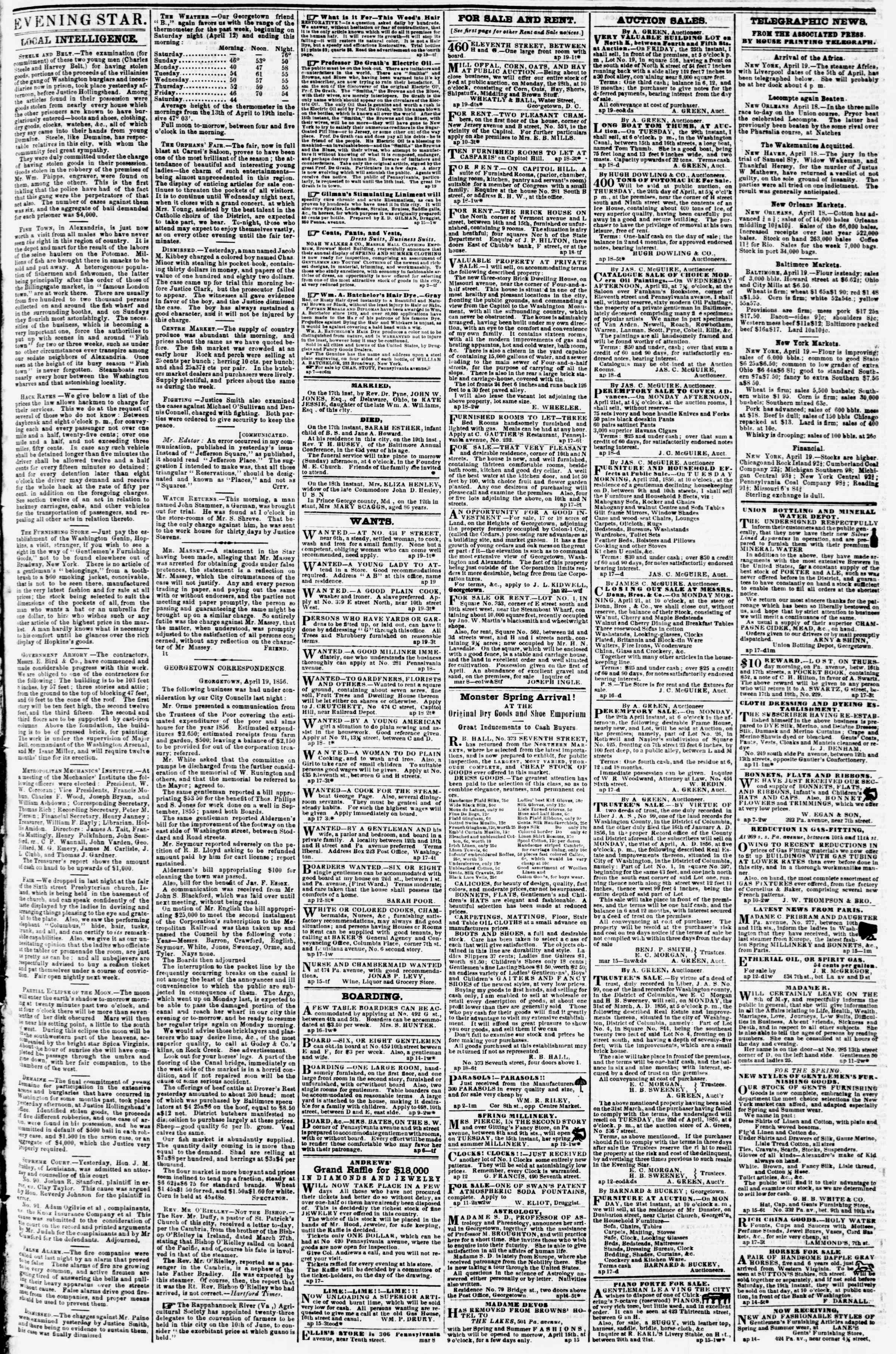 Newspaper of Evening Star dated April 19, 1856 Page 3