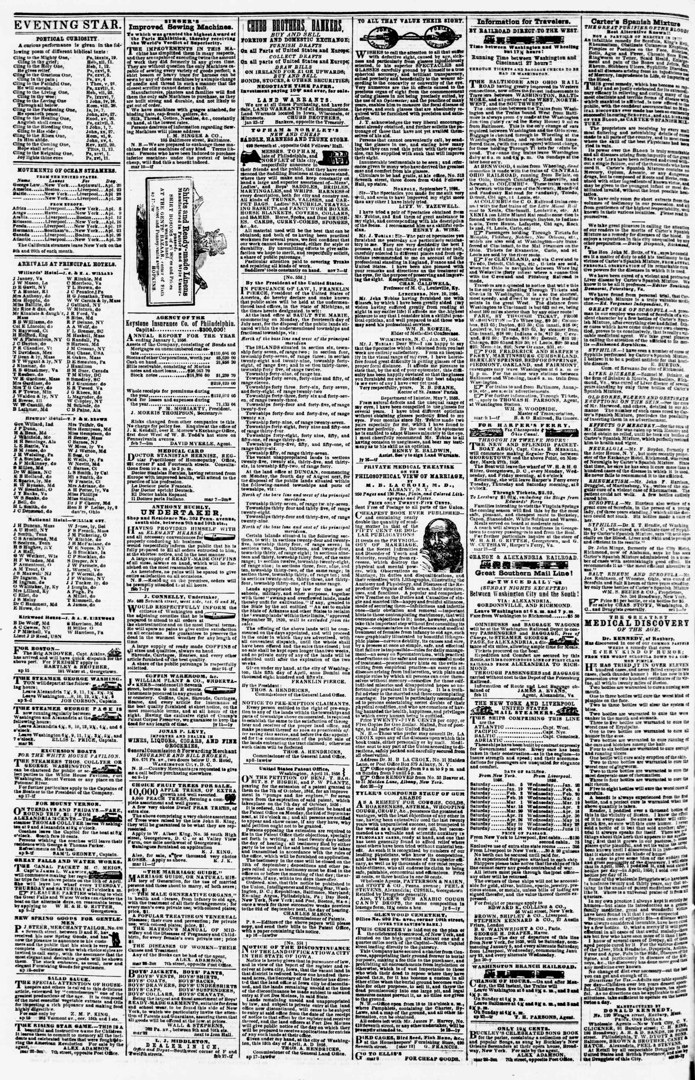 Newspaper of Evening Star dated April 19, 1856 Page 4