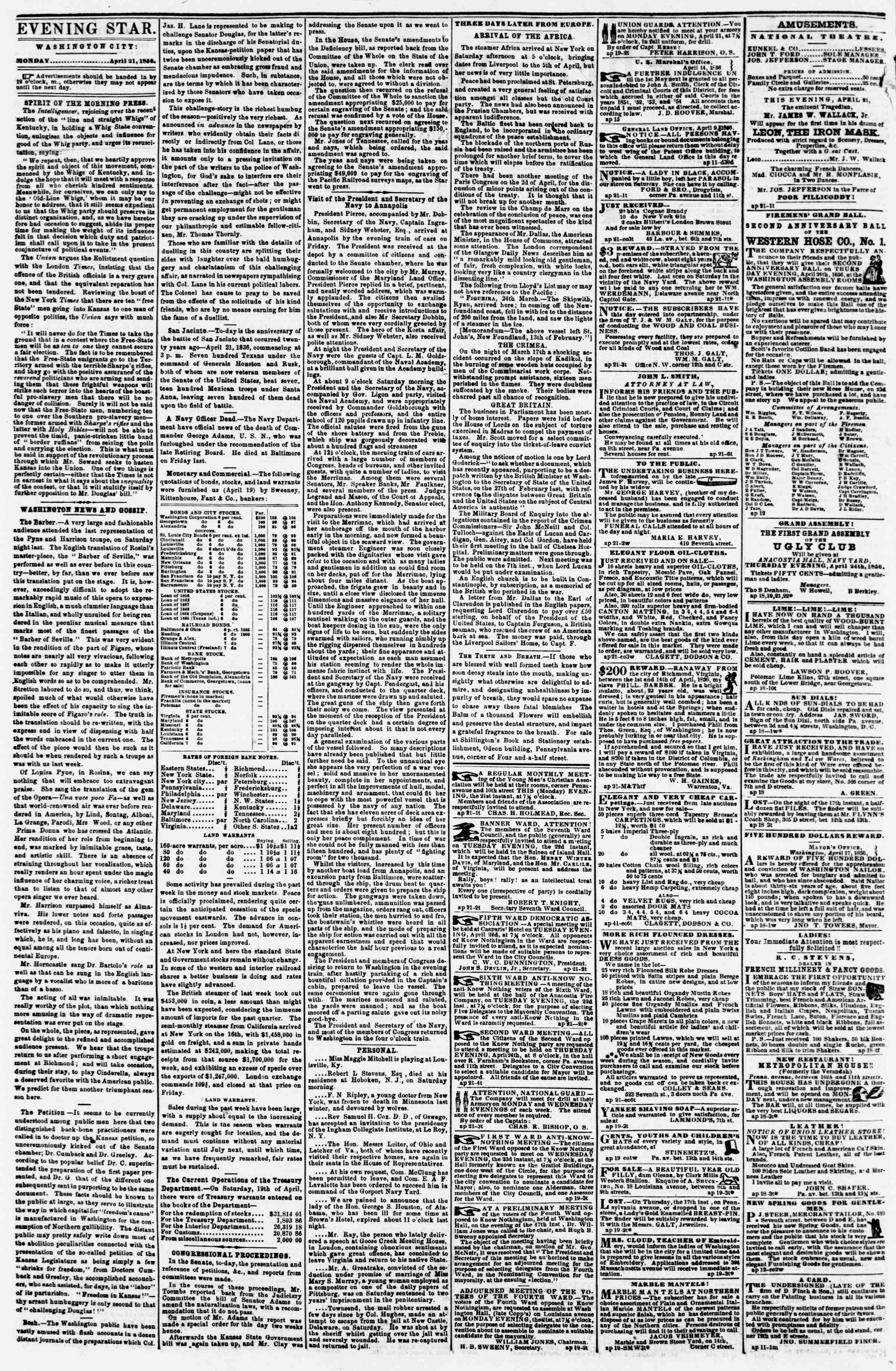 Newspaper of Evening Star dated April 21, 1856 Page 2