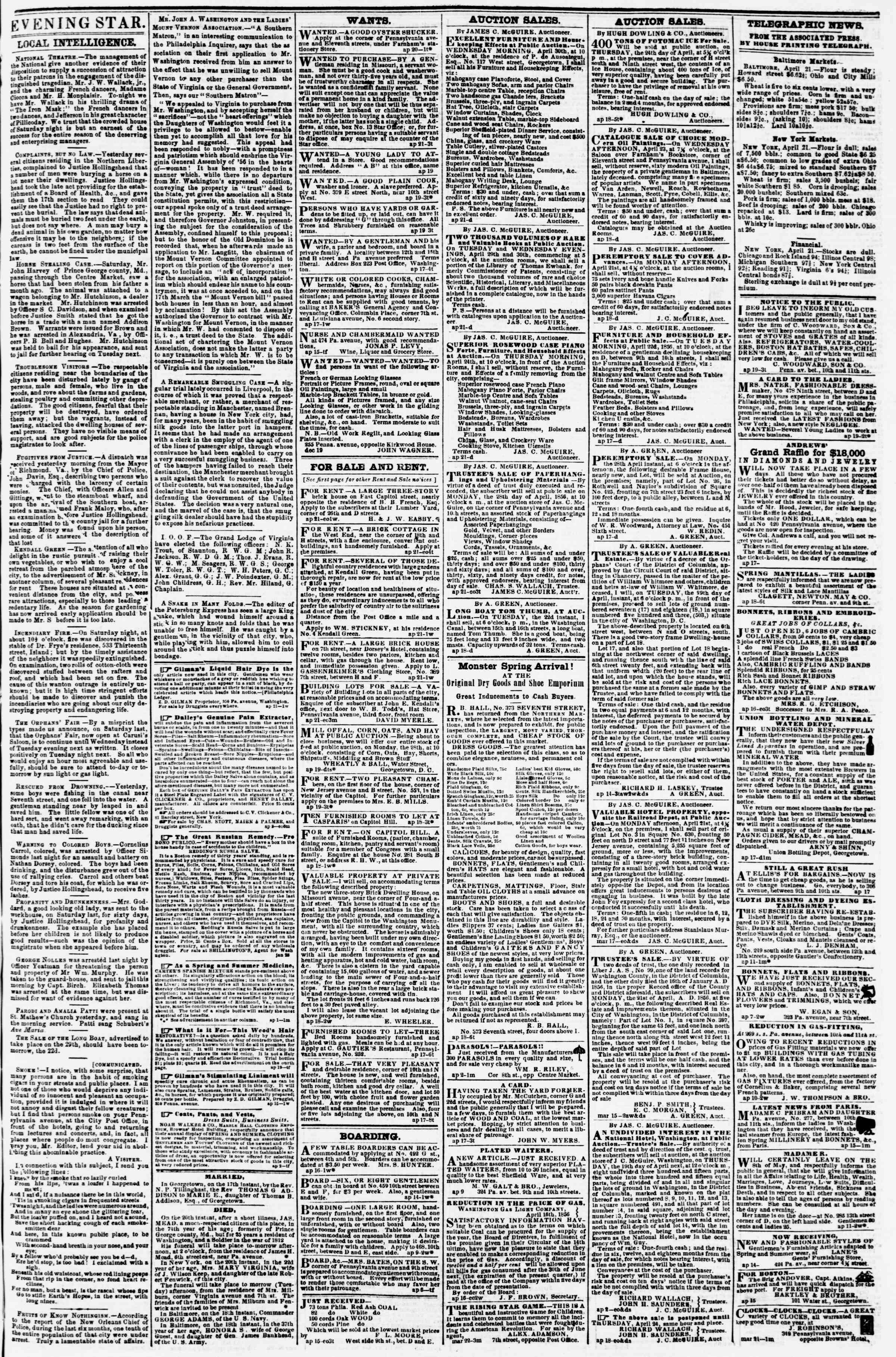 Newspaper of Evening Star dated April 21, 1856 Page 3