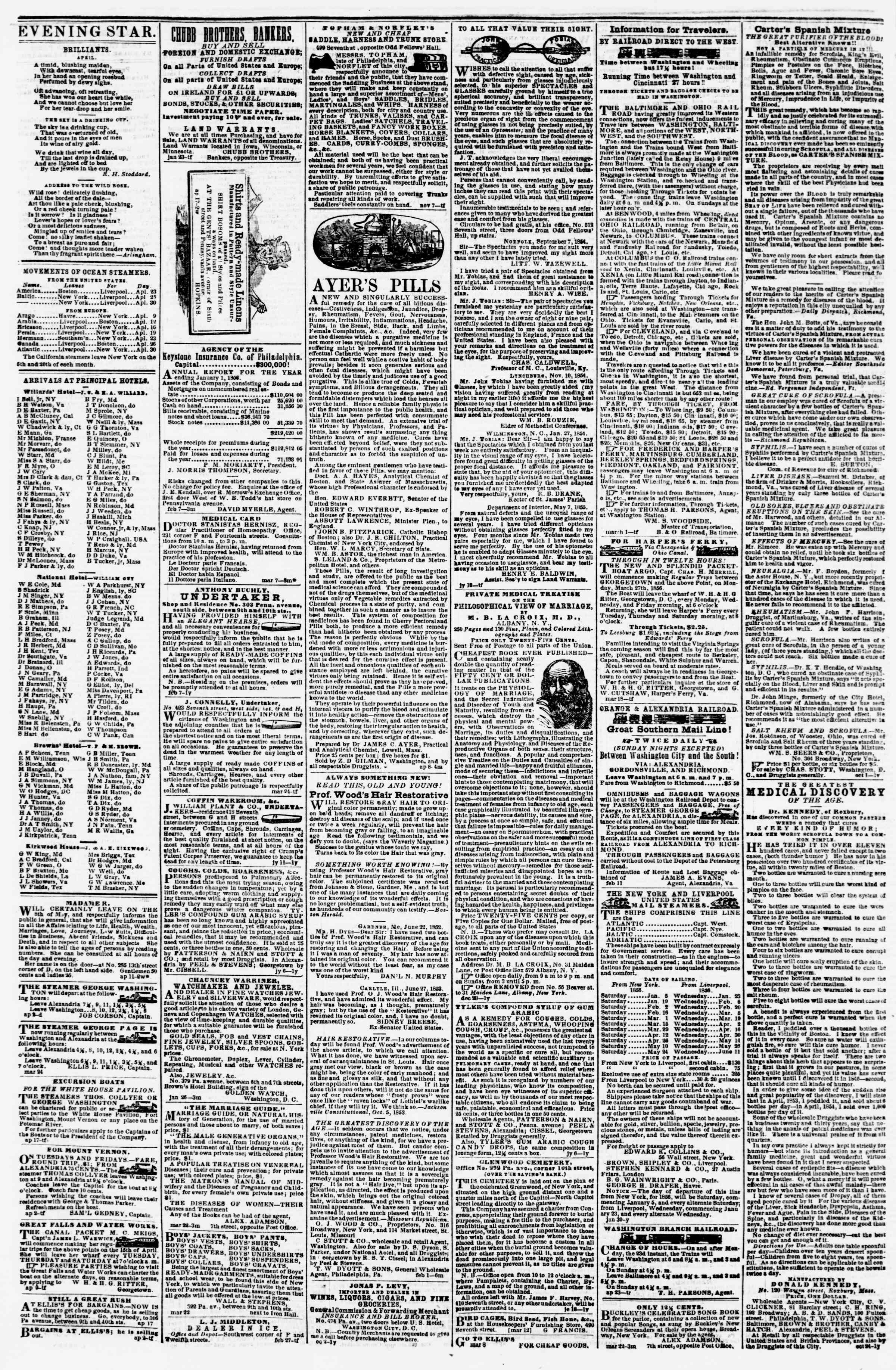 Newspaper of Evening Star dated April 22, 1856 Page 4