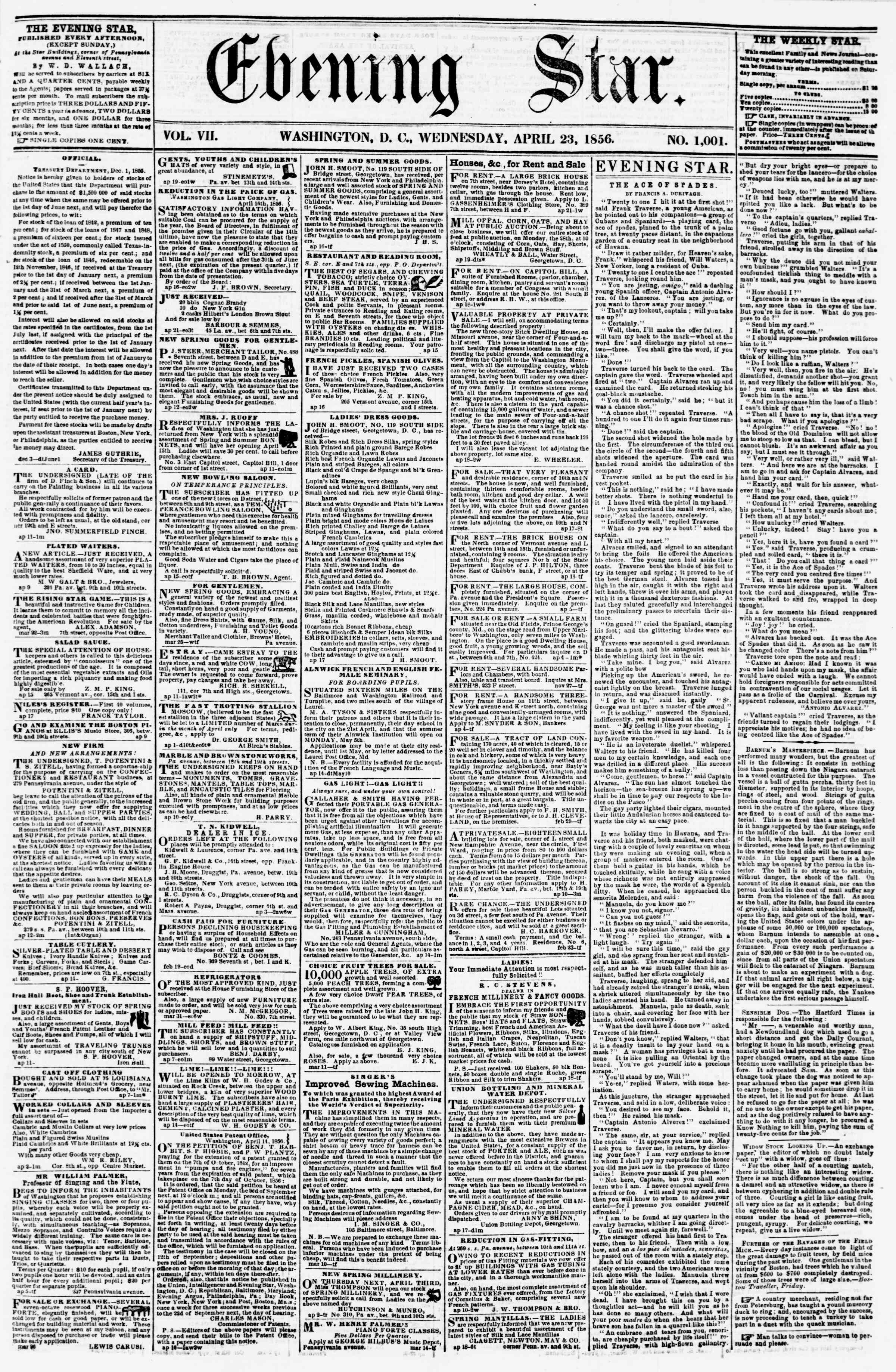 Newspaper of Evening Star dated April 23, 1856 Page 1