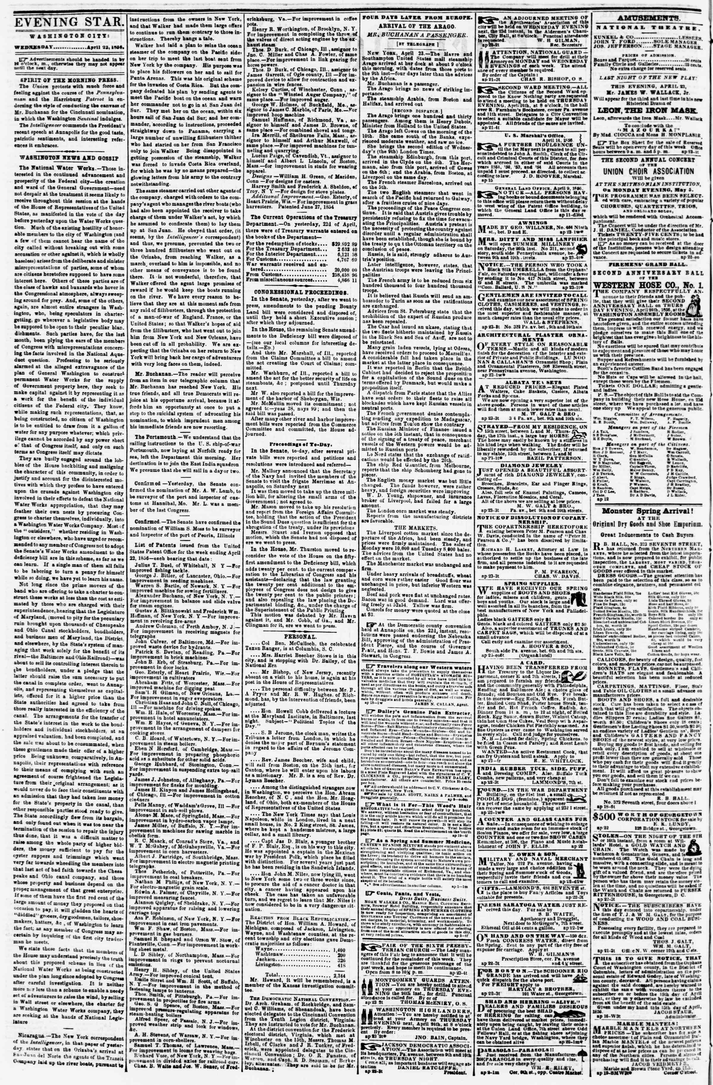 Newspaper of Evening Star dated April 23, 1856 Page 2