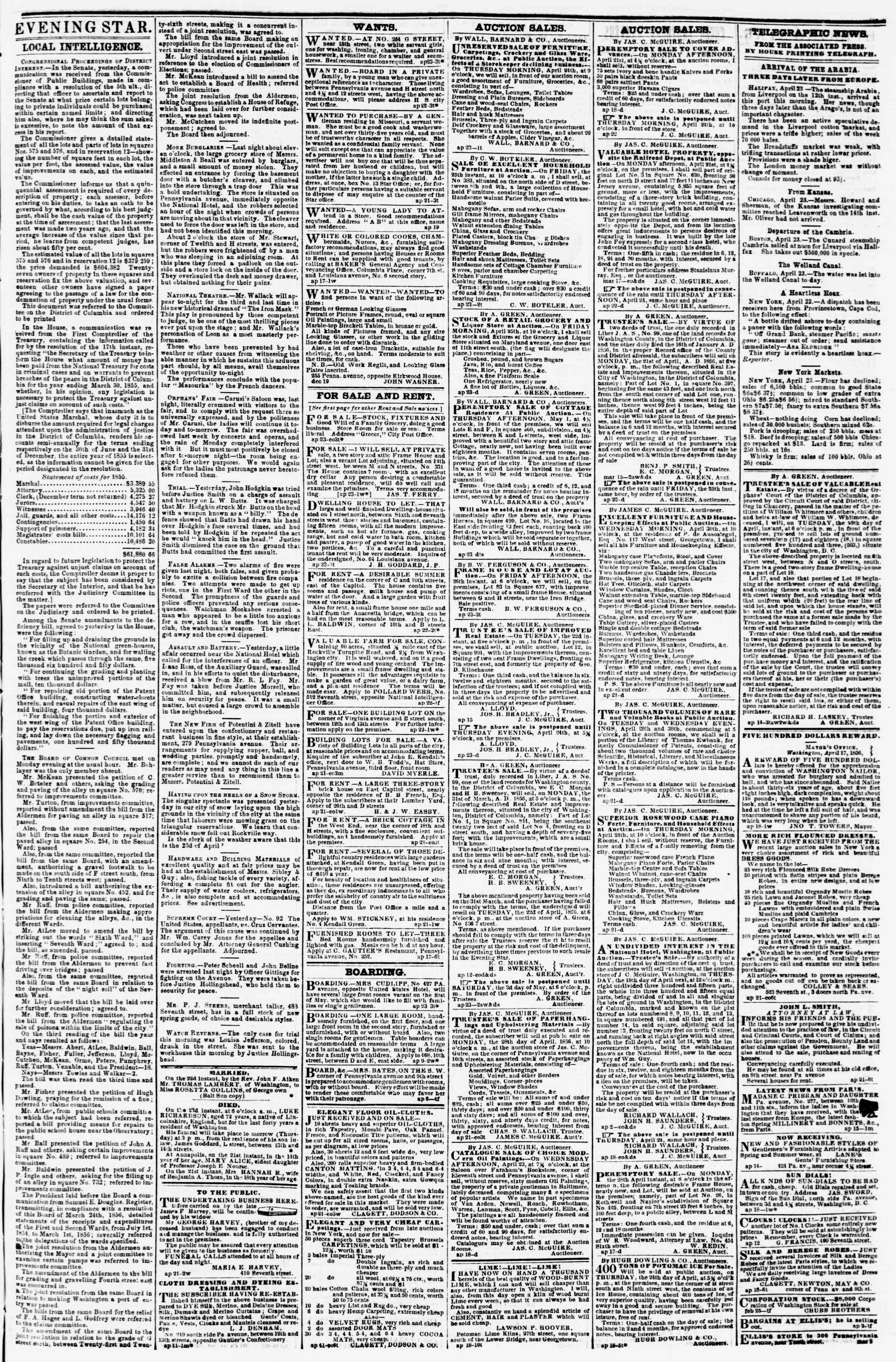 Newspaper of Evening Star dated April 23, 1856 Page 3