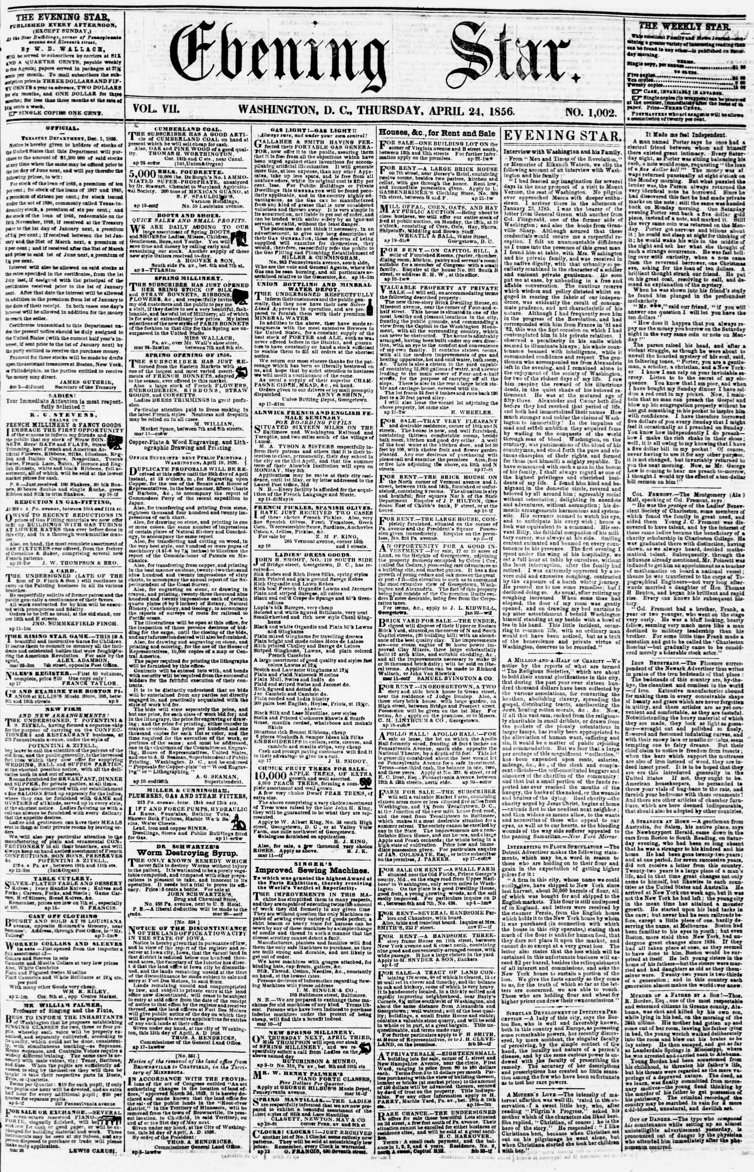 Newspaper of Evening Star dated April 24, 1856 Page 1