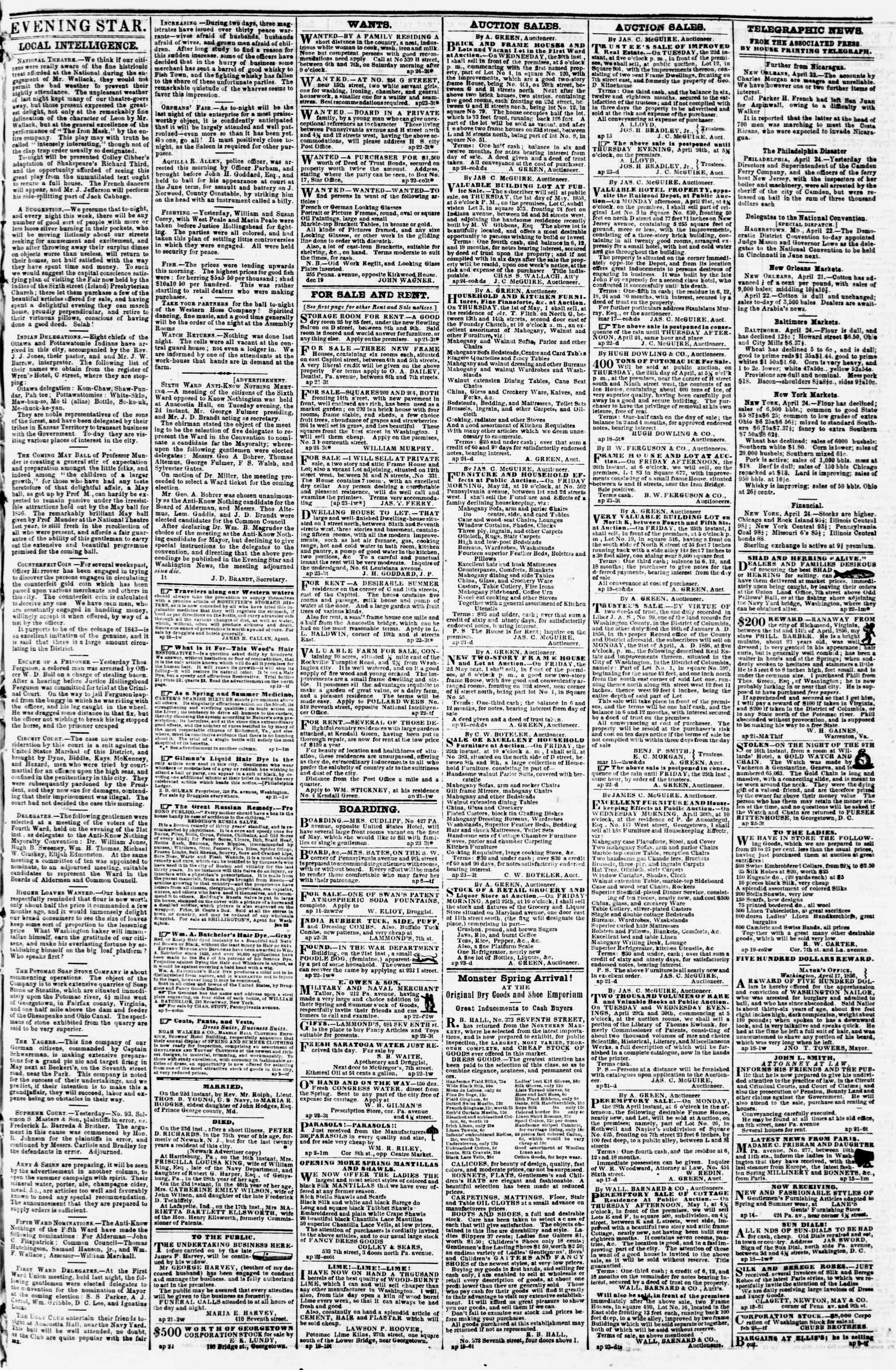 Newspaper of Evening Star dated April 24, 1856 Page 3
