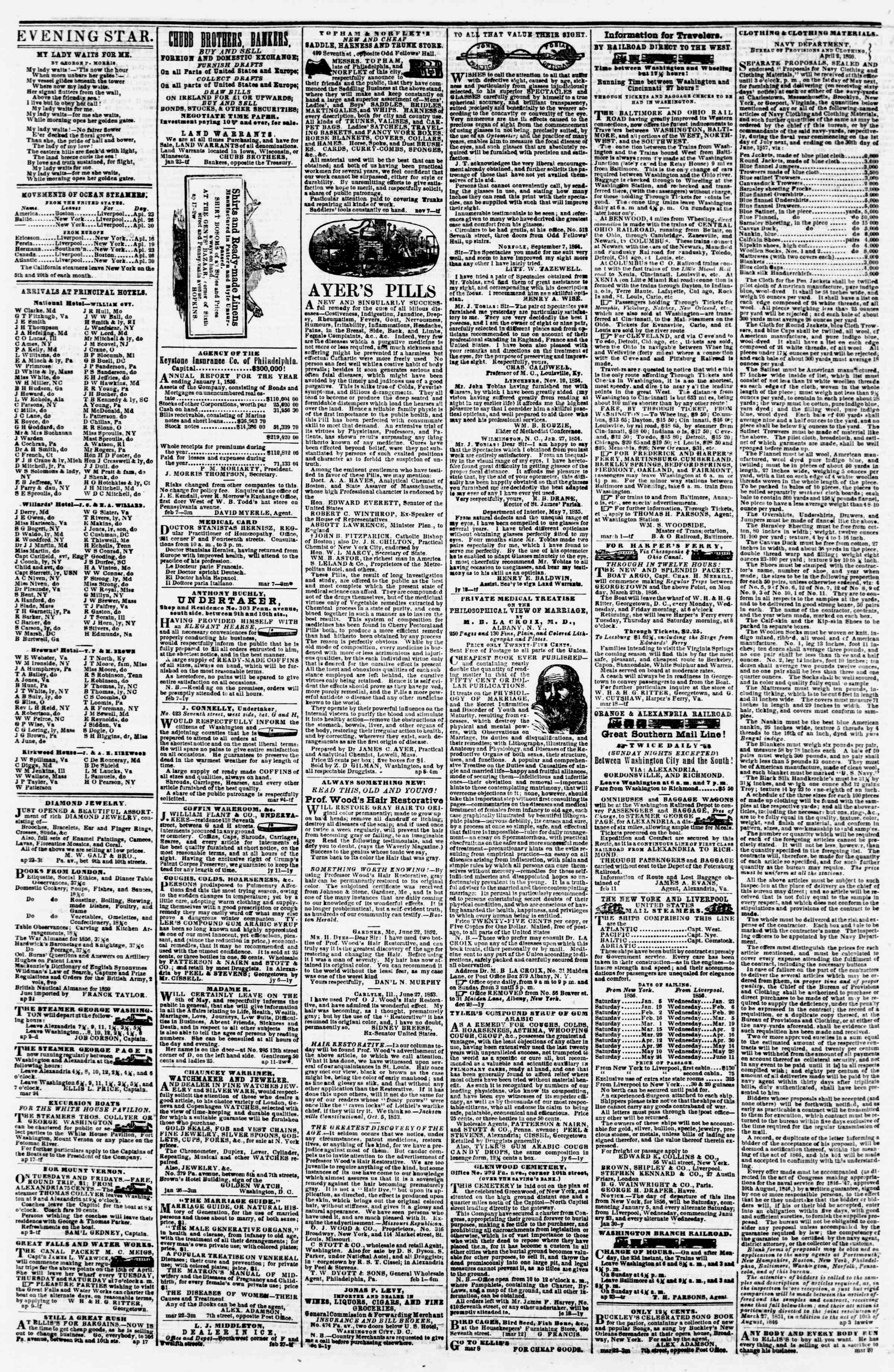 Newspaper of Evening Star dated April 24, 1856 Page 4