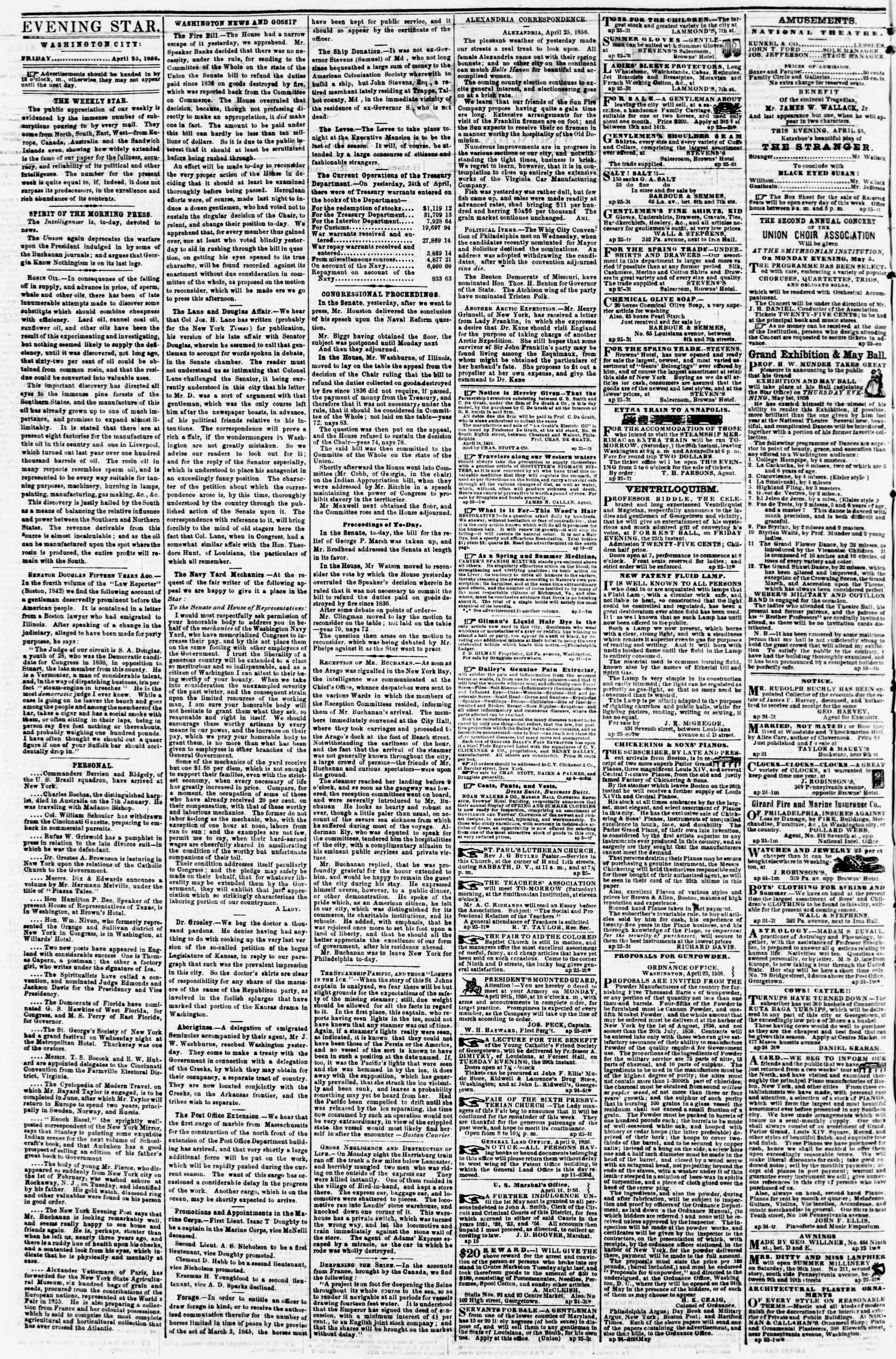 Newspaper of Evening Star dated April 25, 1856 Page 2