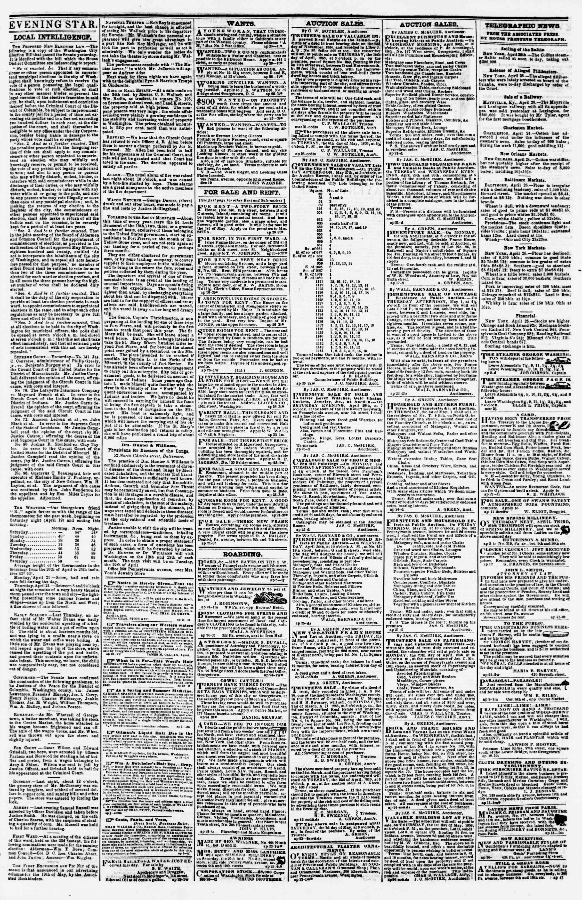 Newspaper of Evening Star dated April 26, 1856 Page 3