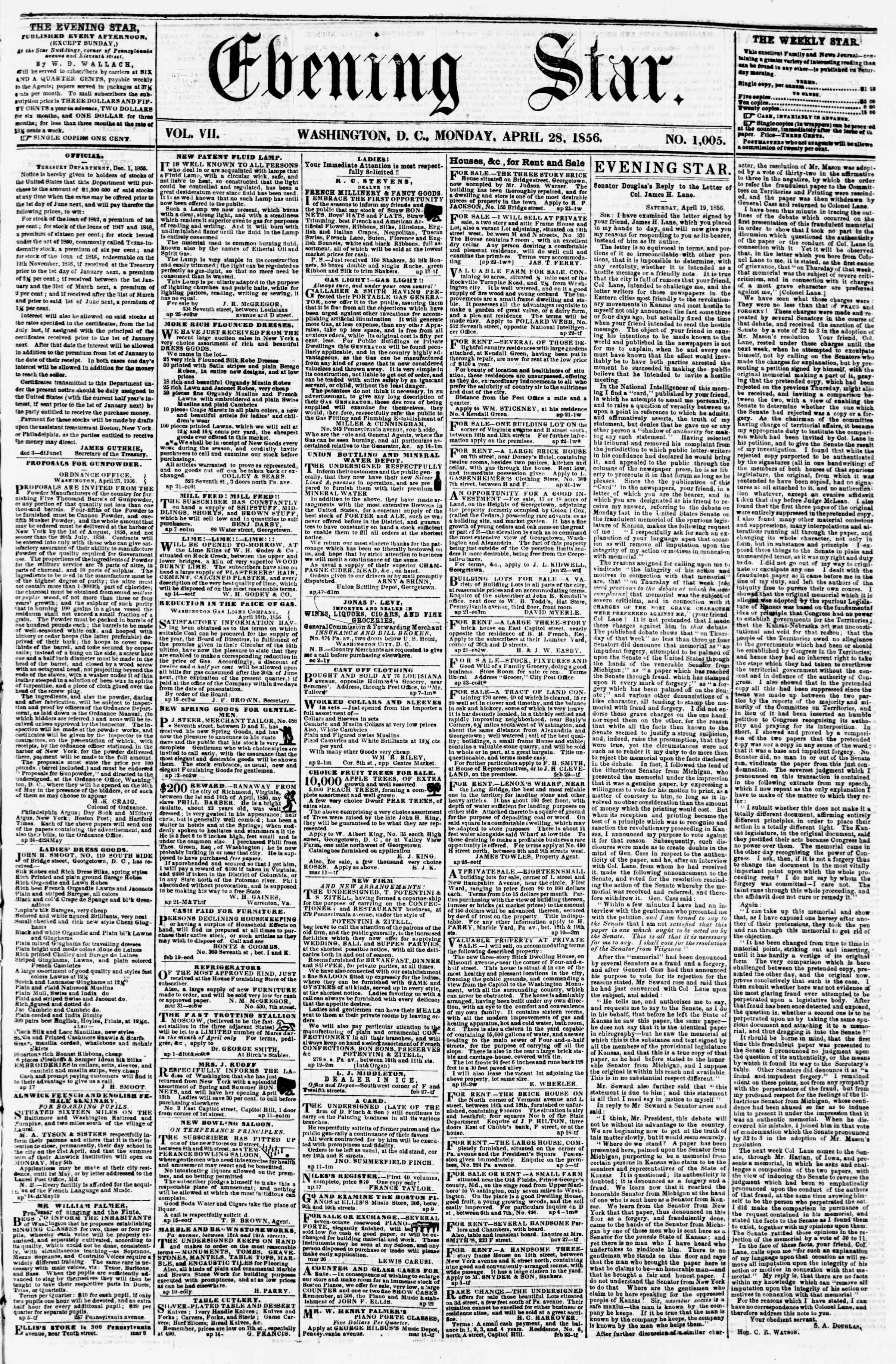 Newspaper of Evening Star dated April 28, 1856 Page 1