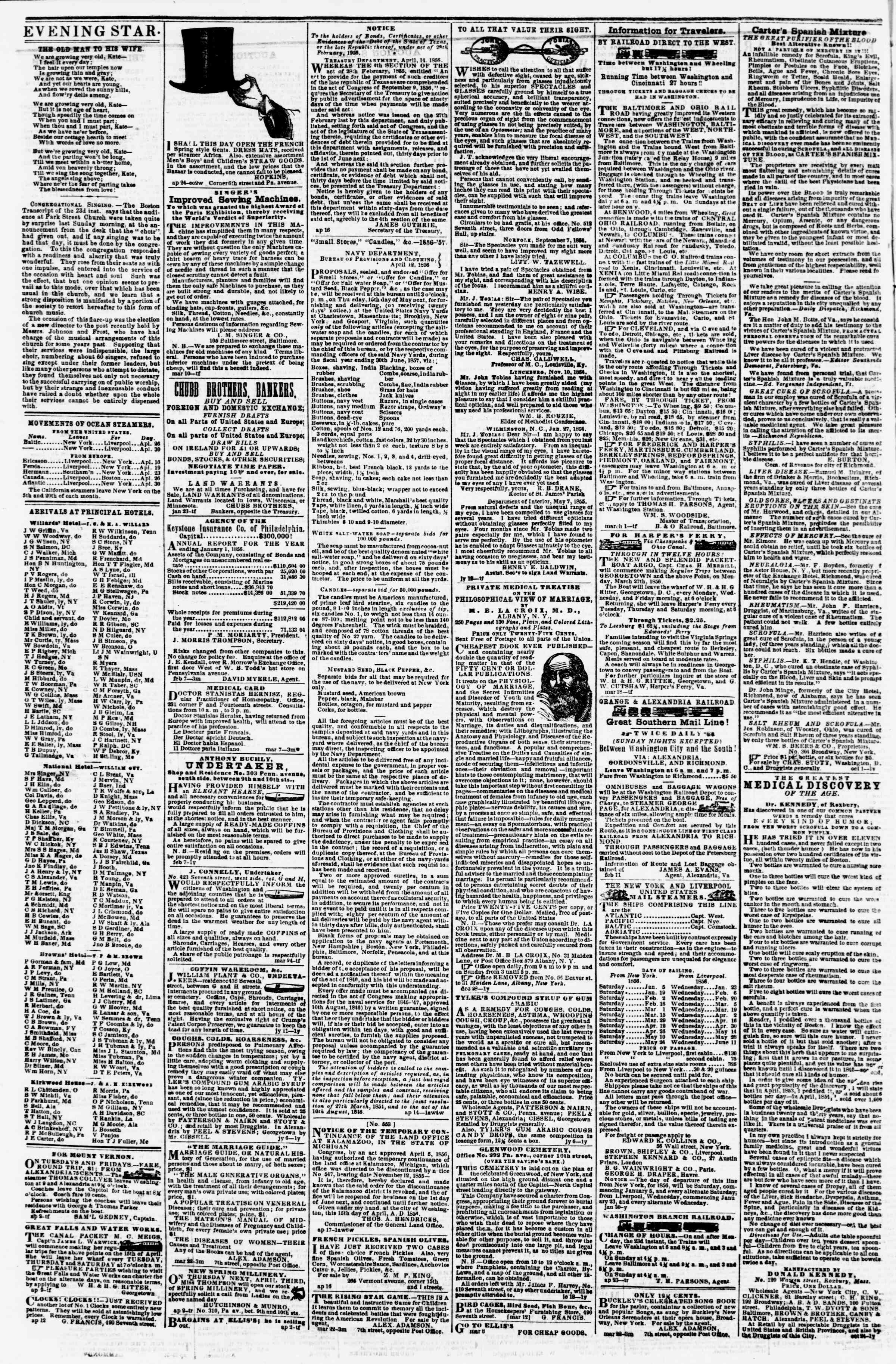 Newspaper of Evening Star dated April 28, 1856 Page 4