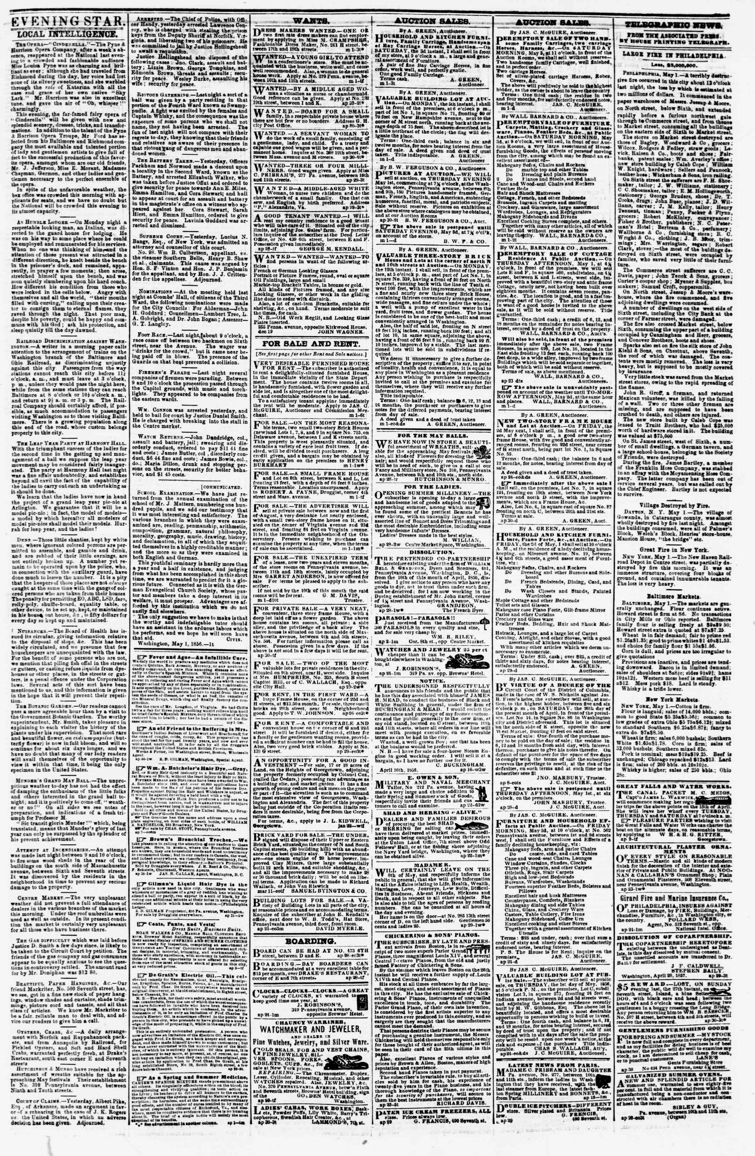 Newspaper of Evening Star dated May 1, 1856 Page 3