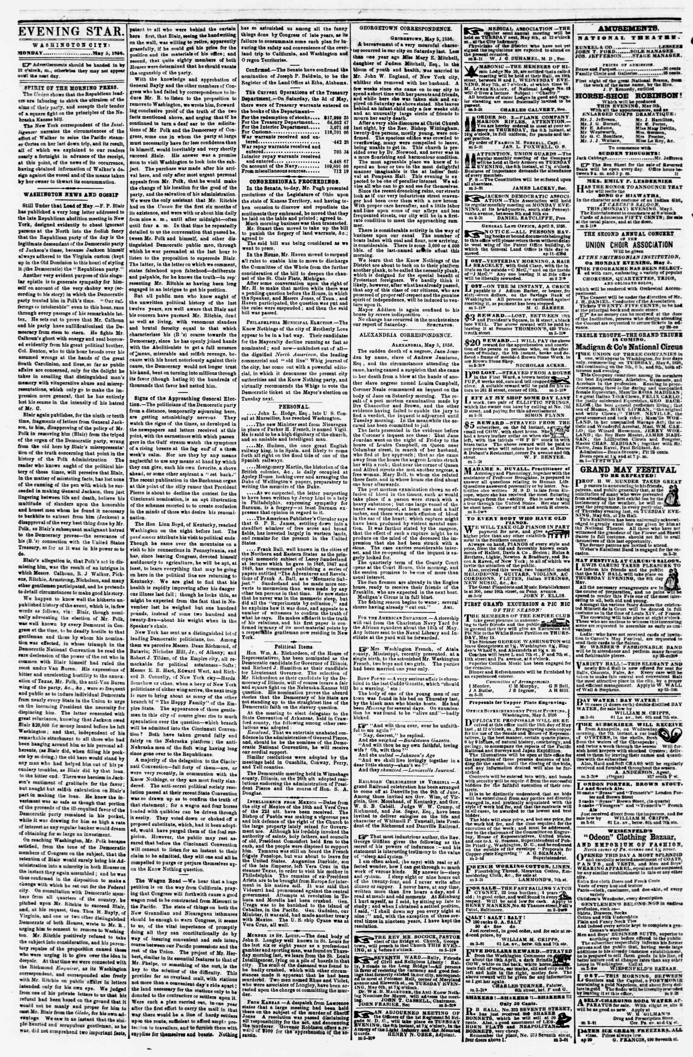 Newspaper of Evening Star dated May 5, 1856 Page 2