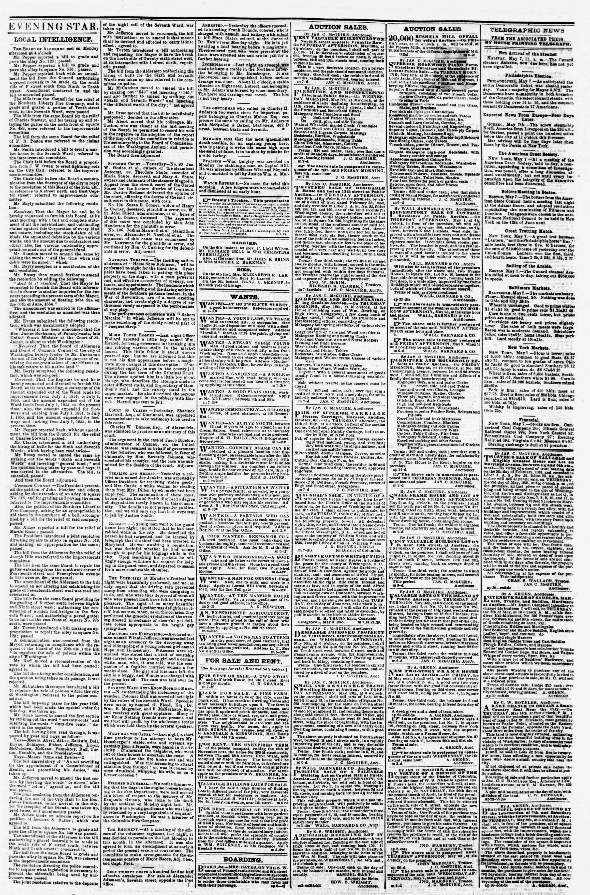 Newspaper of Evening Star dated May 7, 1856 Page 3
