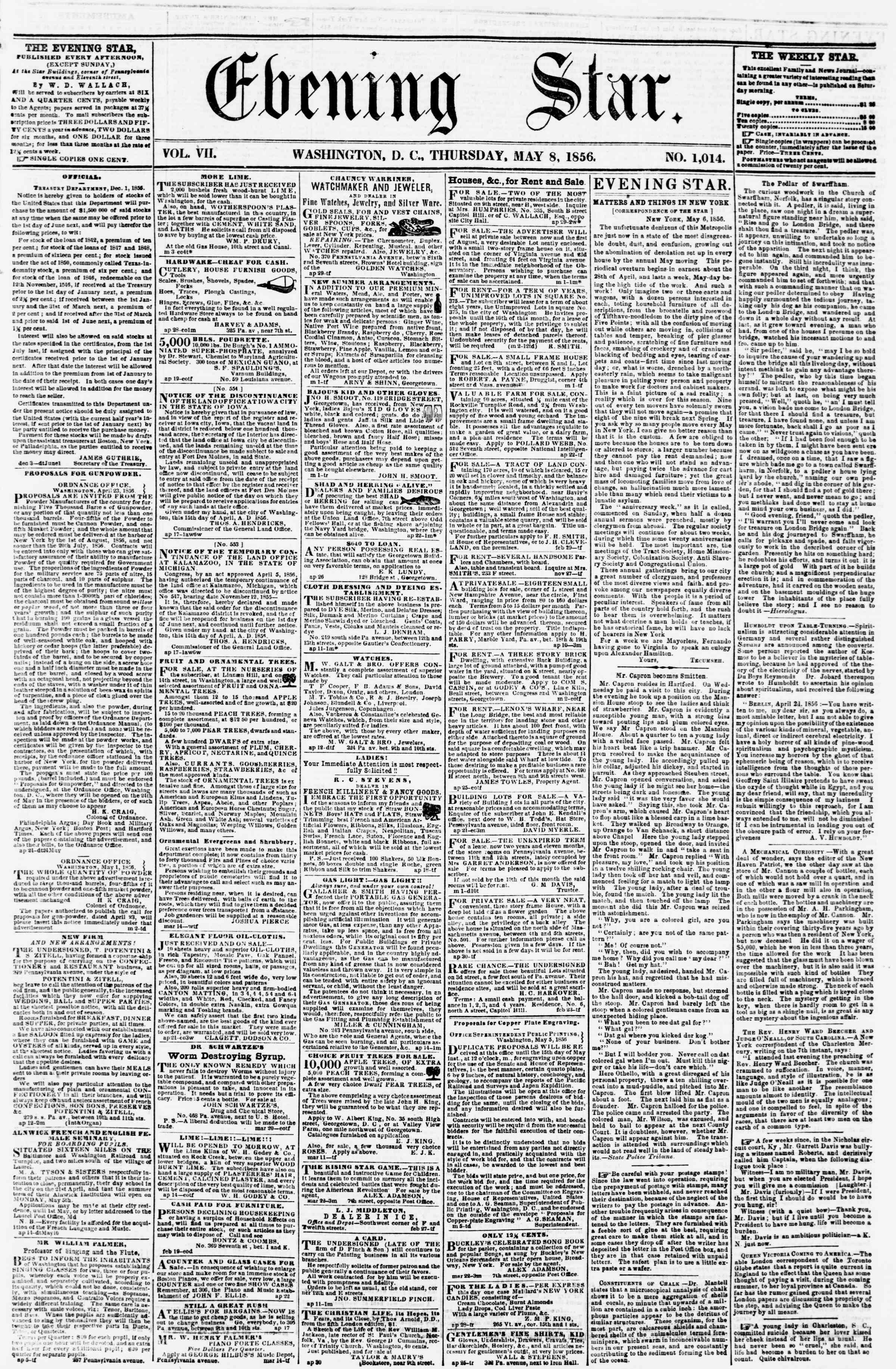 Newspaper of Evening Star dated May 8, 1856 Page 1