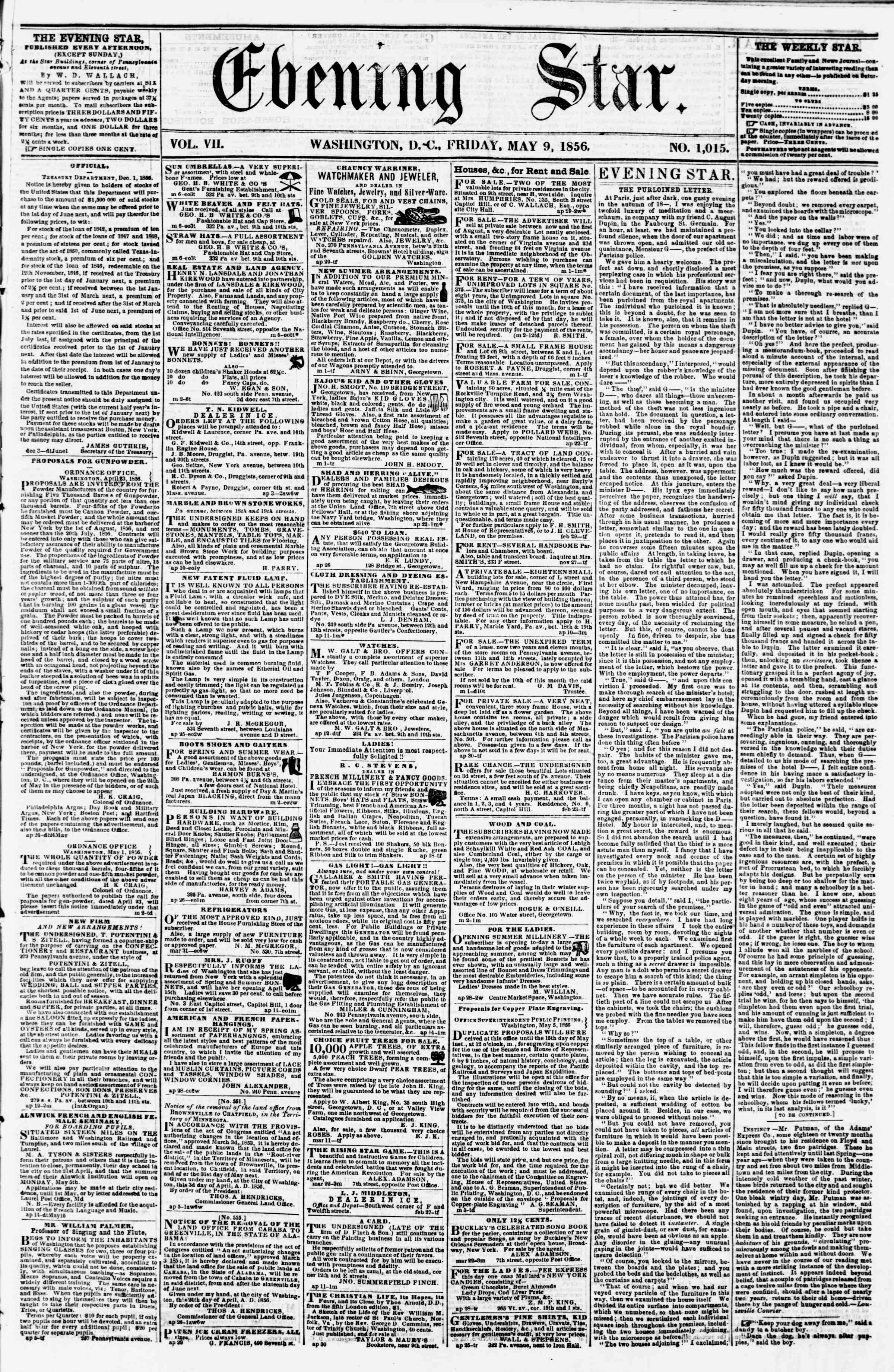Newspaper of Evening Star dated May 9, 1856 Page 1