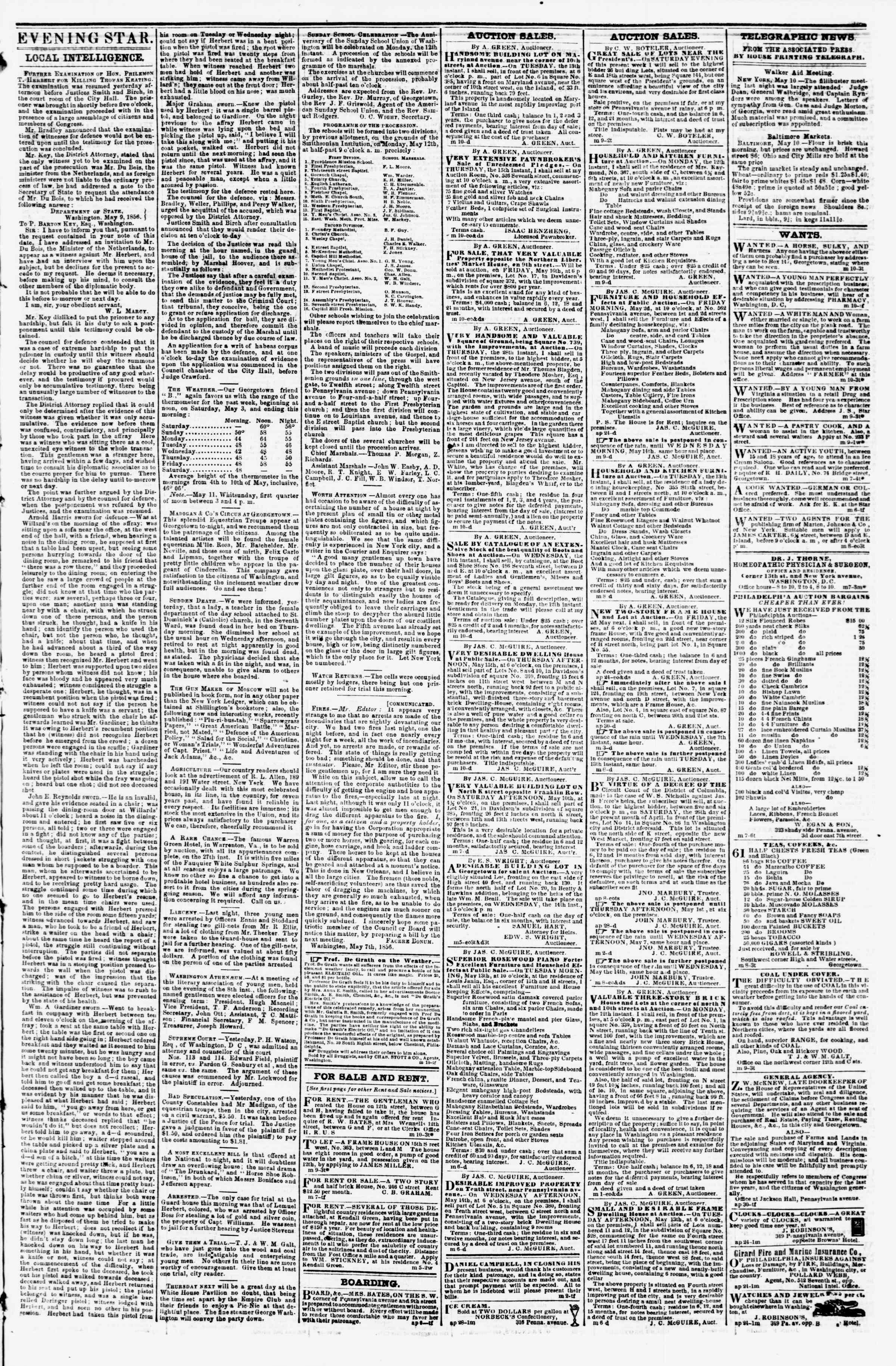 Newspaper of Evening Star dated May 10, 1856 Page 3