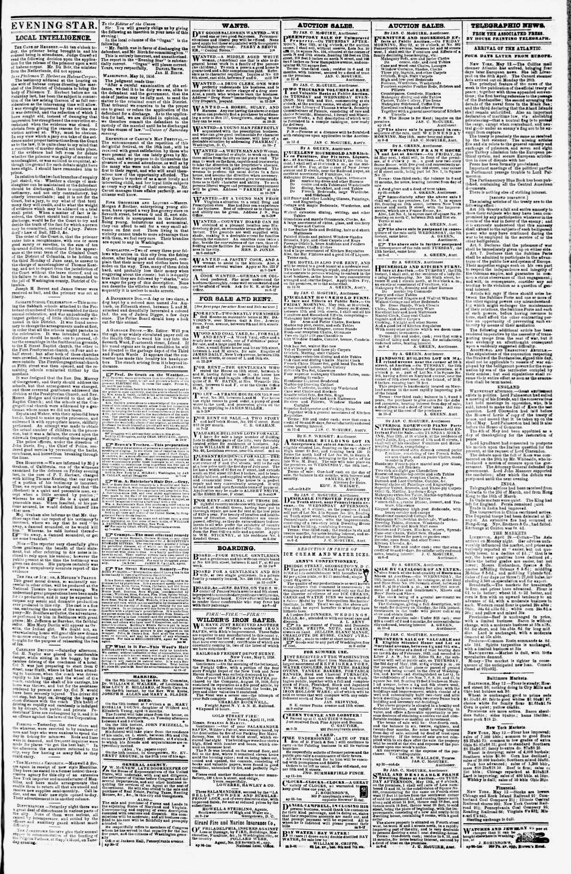 Newspaper of Evening Star dated May 12, 1856 Page 3