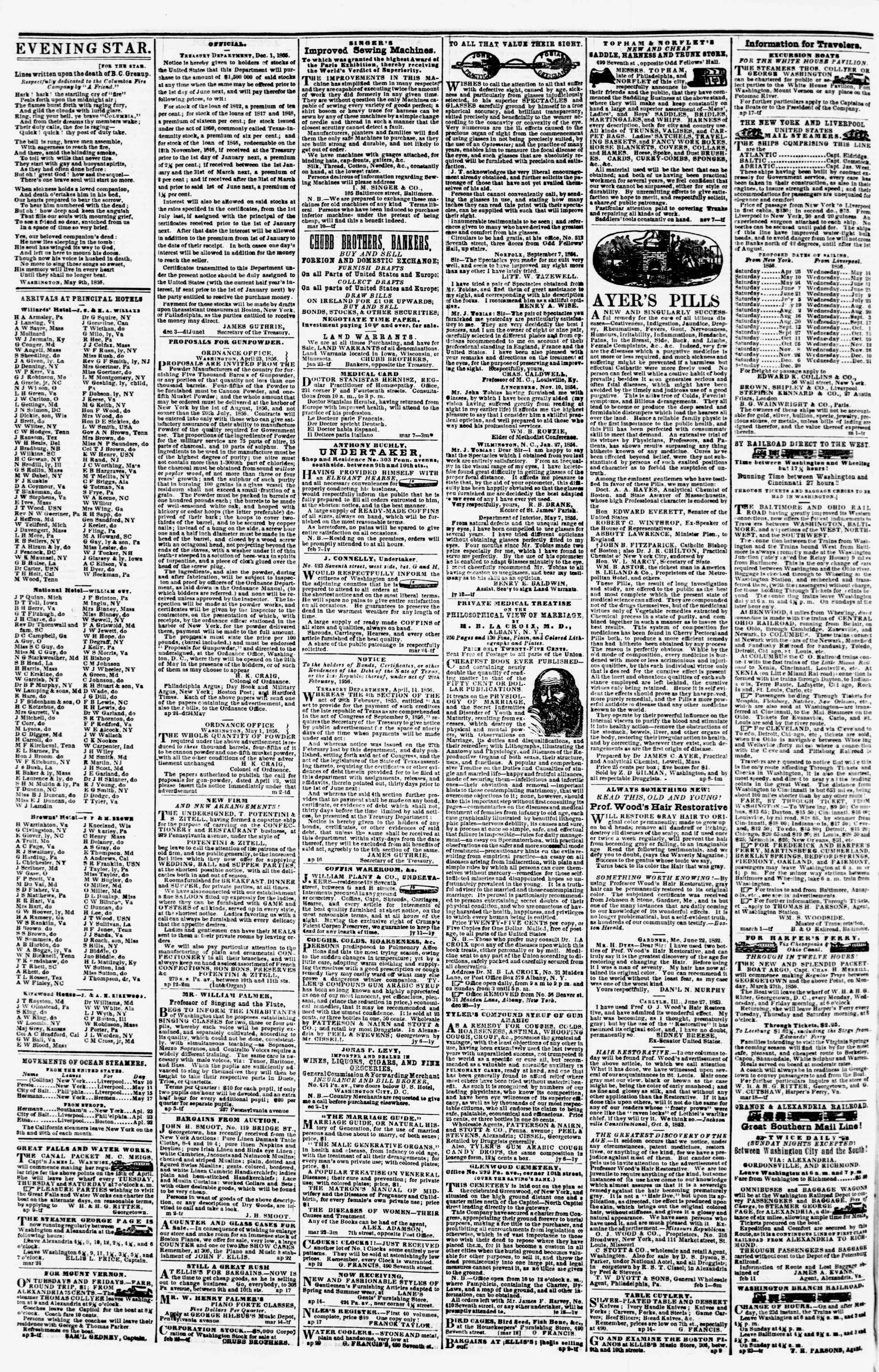 Newspaper of Evening Star dated May 12, 1856 Page 4