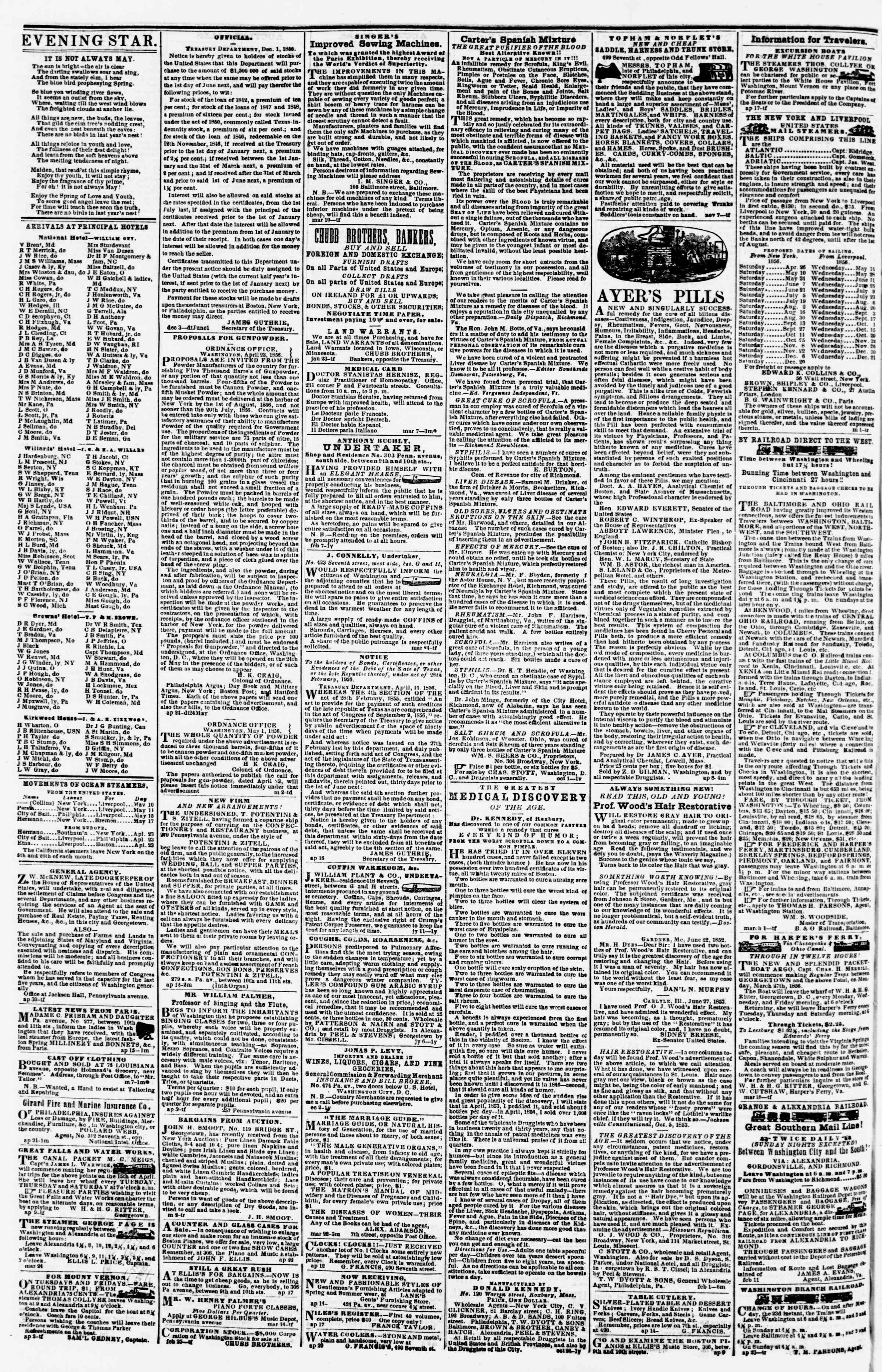 Newspaper of Evening Star dated May 13, 1856 Page 4