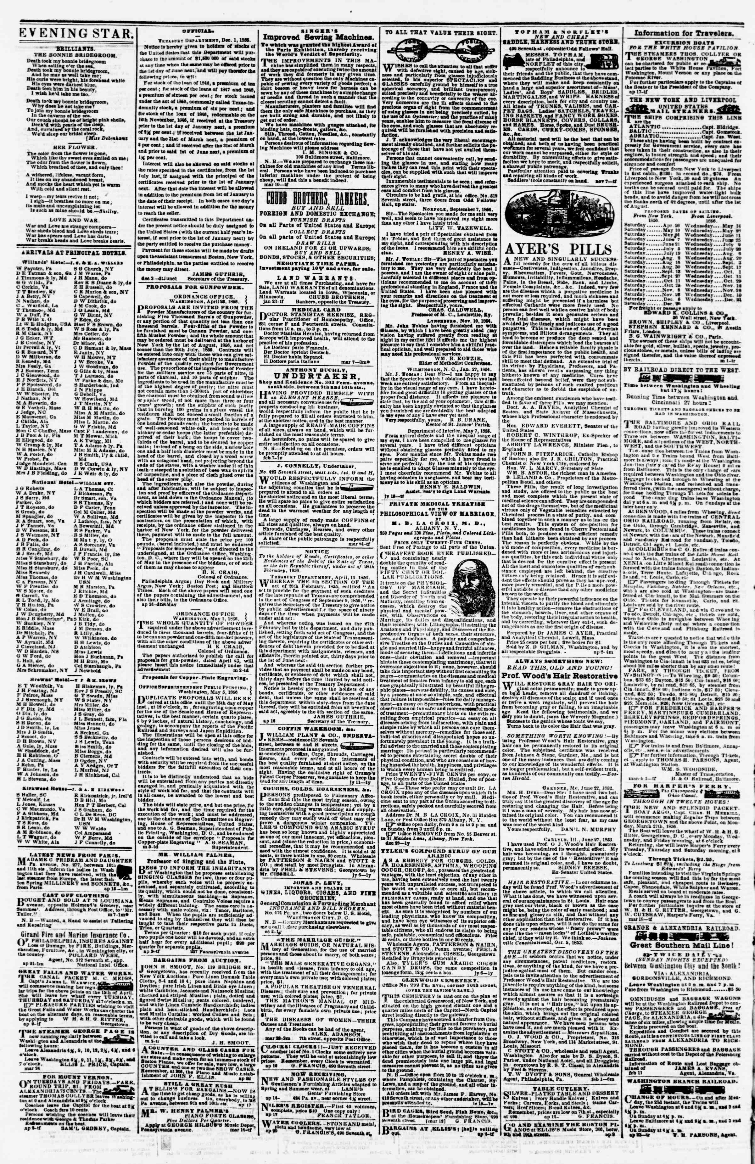 Newspaper of Evening Star dated May 14, 1856 Page 4
