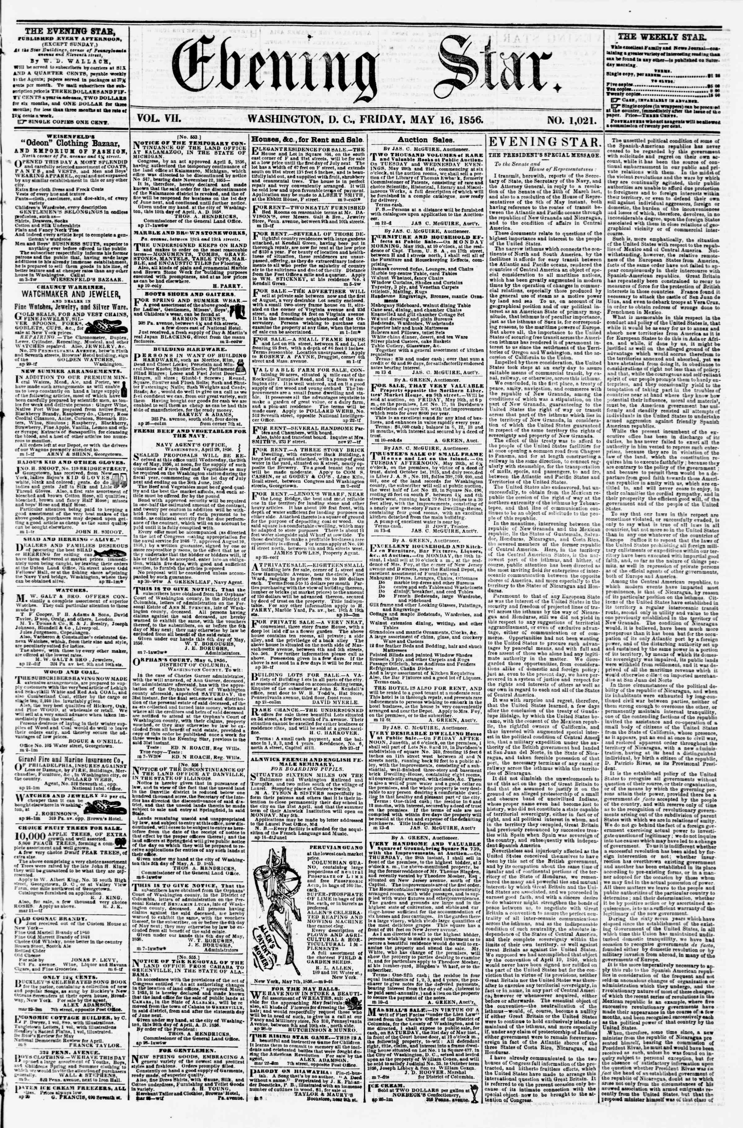 Newspaper of Evening Star dated May 16, 1856 Page 1