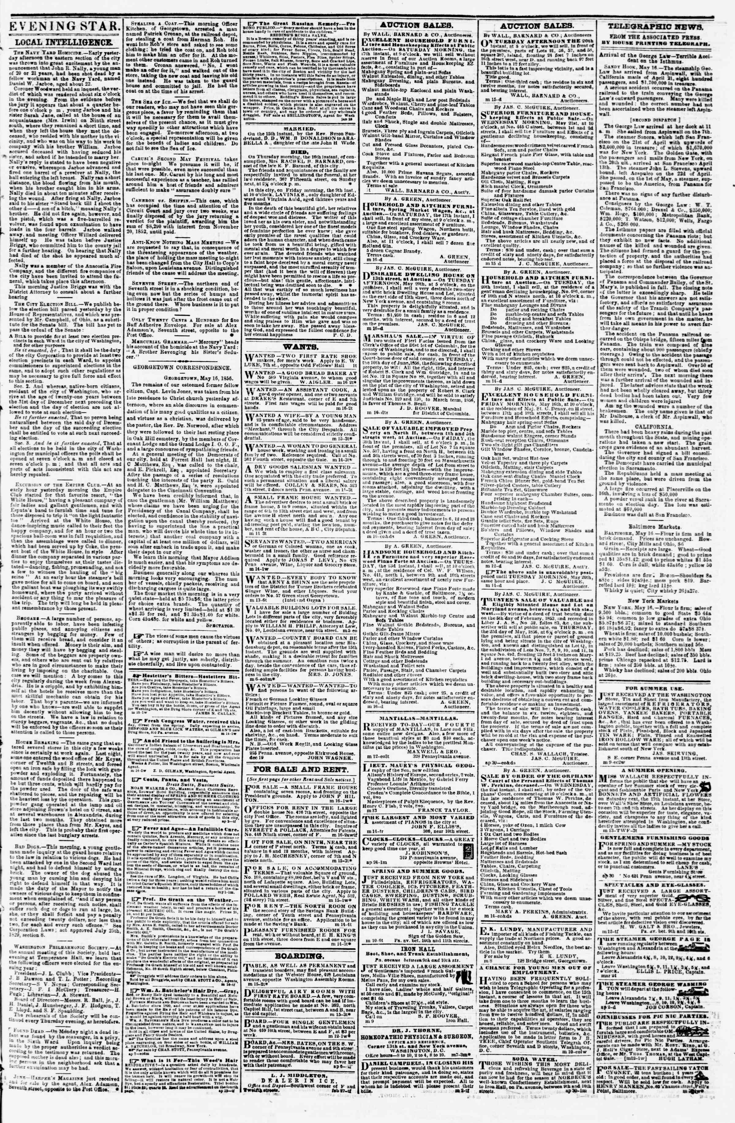 Newspaper of Evening Star dated May 16, 1856 Page 3